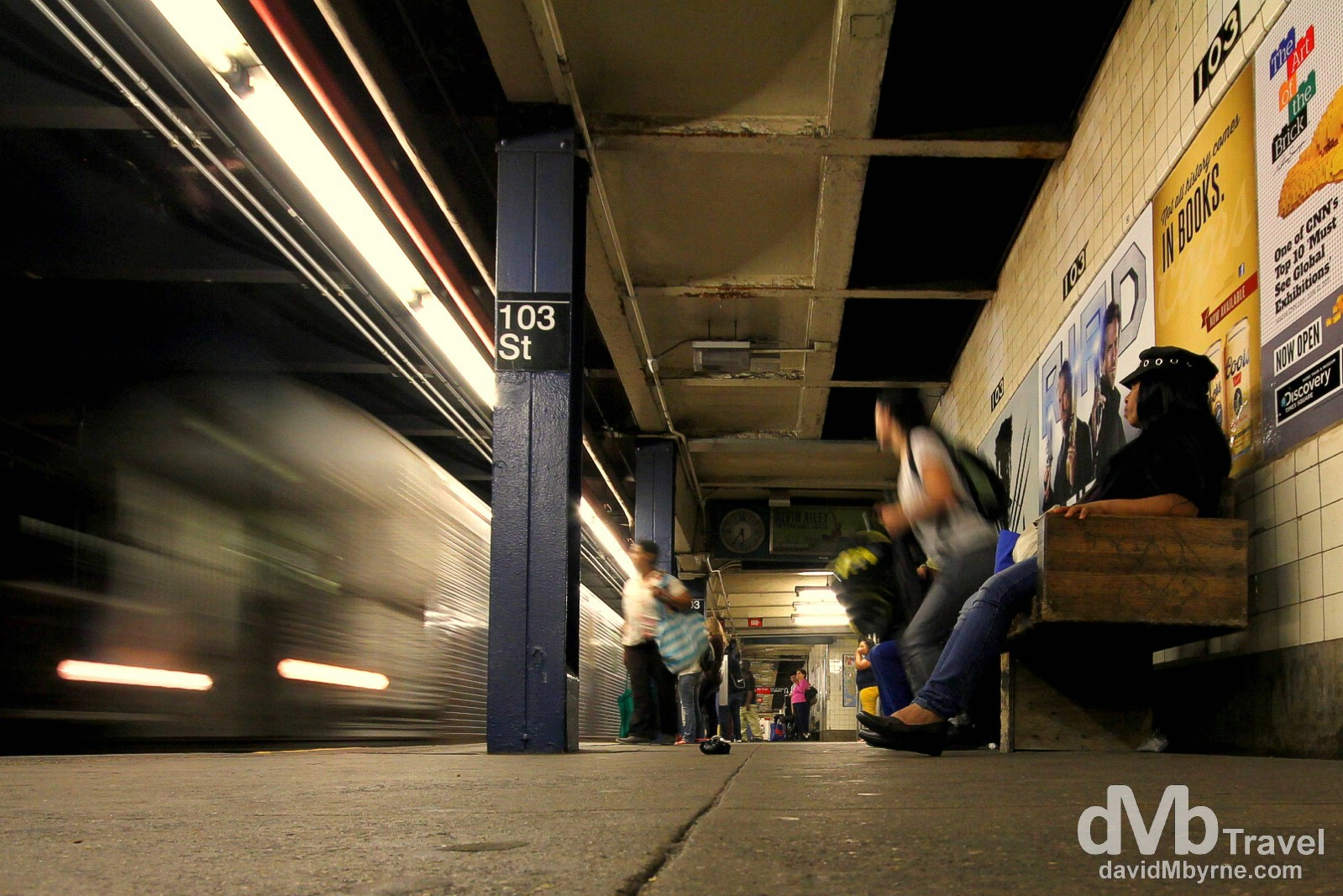 A subway car rolls into 103 Street subway station, Manhattan, New York. July 12th 2013.