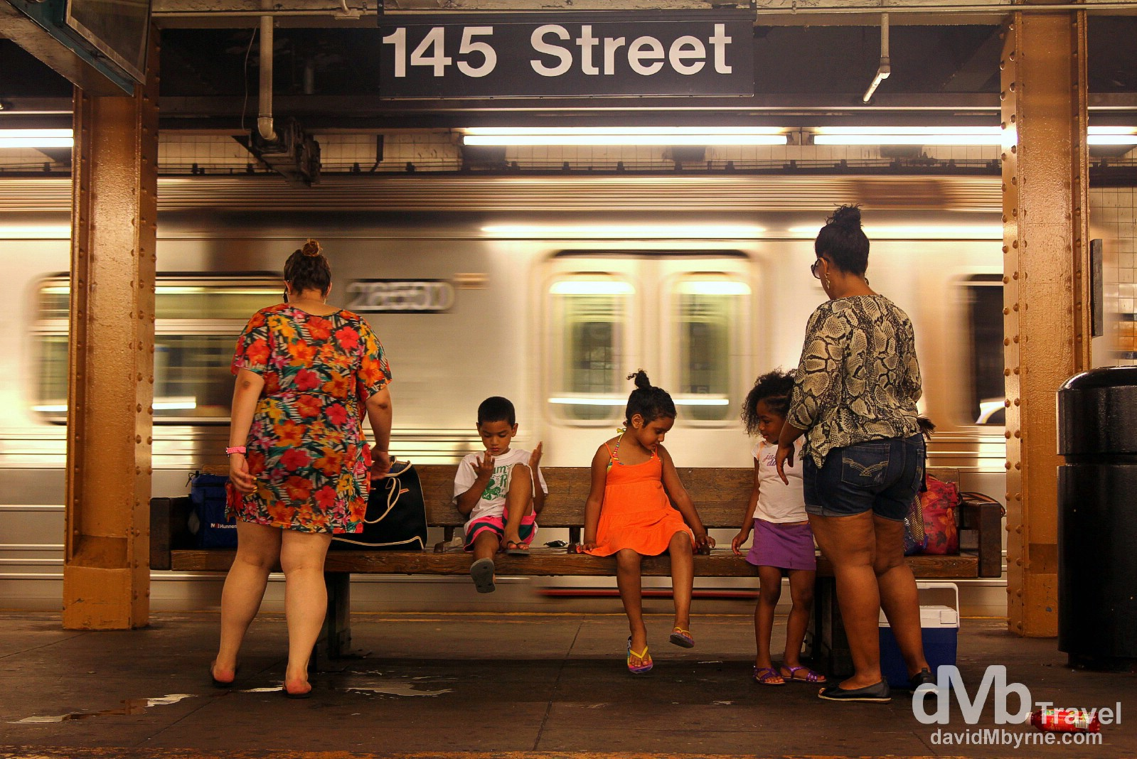 On the platform of 145 Street subway station, Manhattan, New York. July 14th 2013.