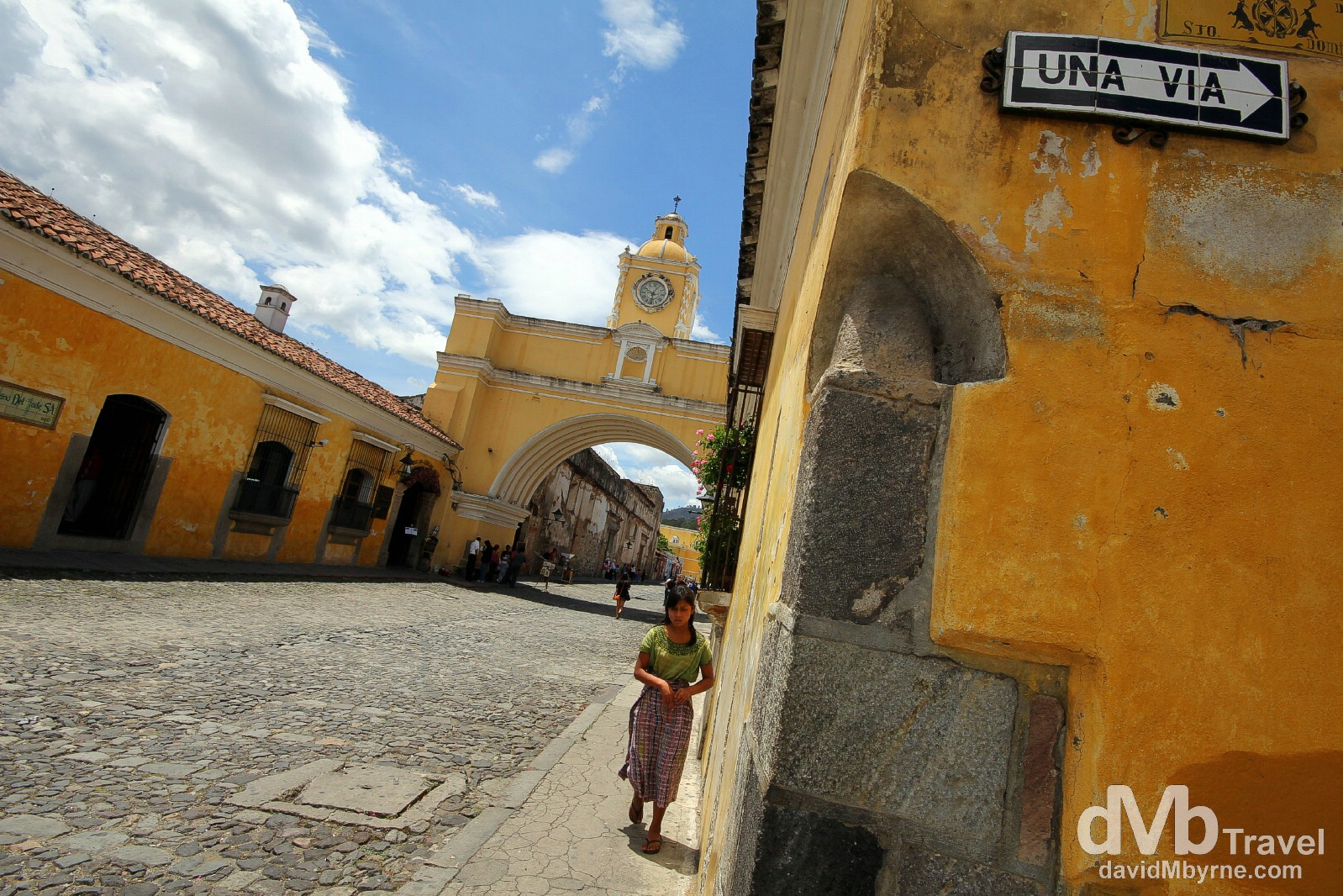 The Santa Catalina Arch spanning 5a Avenue Norte , Antigua, Guatemala. May 25th 2013.