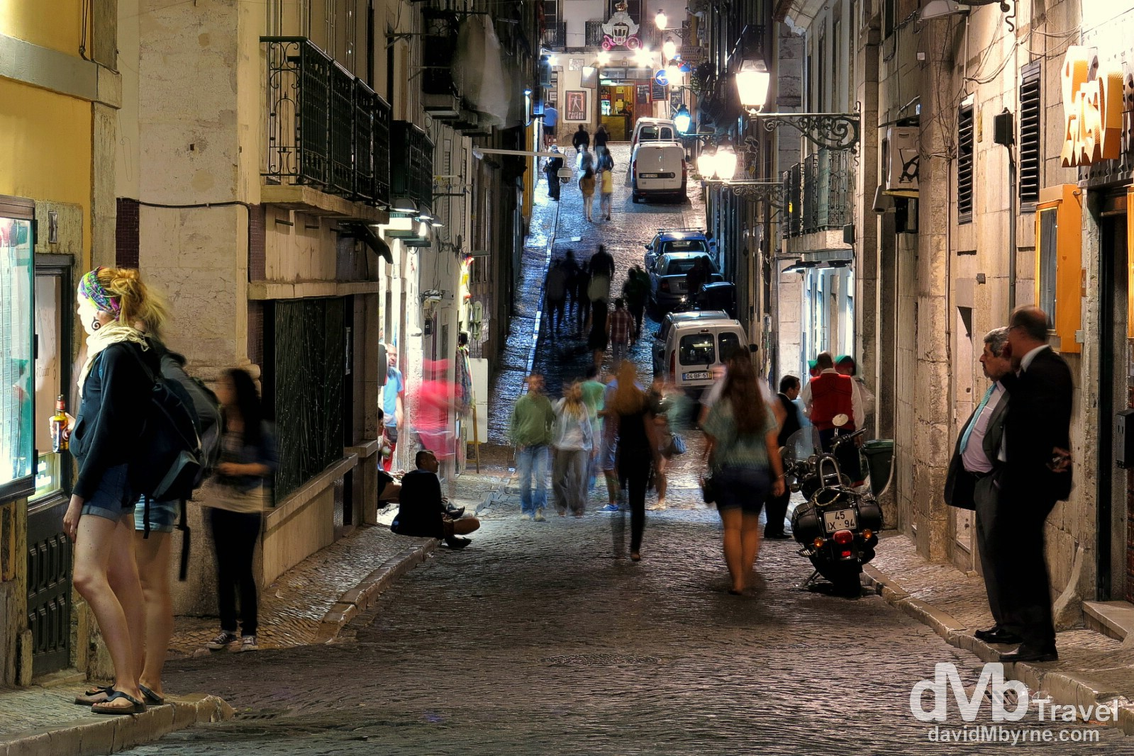 Travessa Da Queimada in the nightlife Bairro Alto district of Lisbon, Portugal. August 24th 2013.