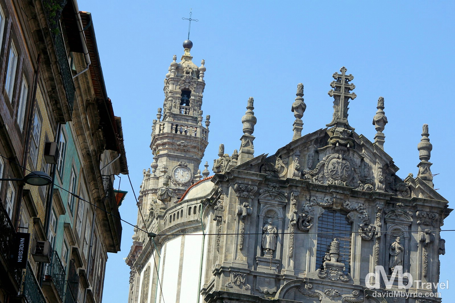 The Baroque 18th century Clérigos Church as seen from Rua dos Clerigos, Porto, Portugal. August 29th 2013.