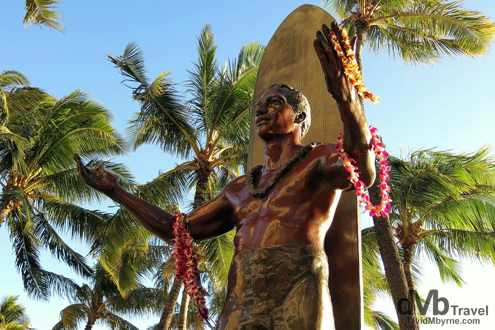 A statue of Duke Kahanamoku, a Hawaiian native, five-time Olympic medallist & the person credited with popularising the sport of surfing, fronting Waikiki Beach in O'ahu, Hawaii. February 26th 2013.
