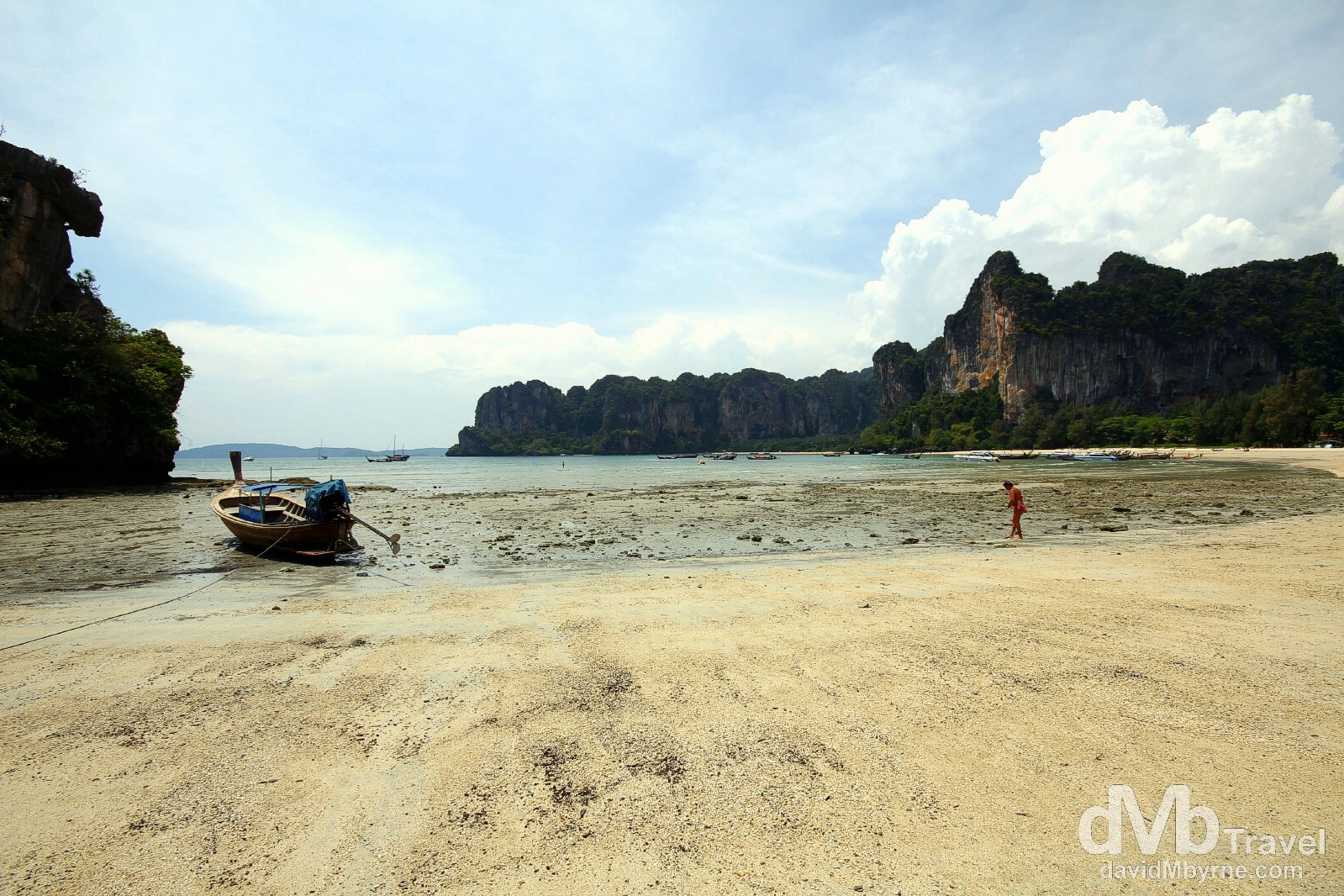 Low tide on Hat Rai Leh West Beach, Krabi, Thailand. March 19th 2012.