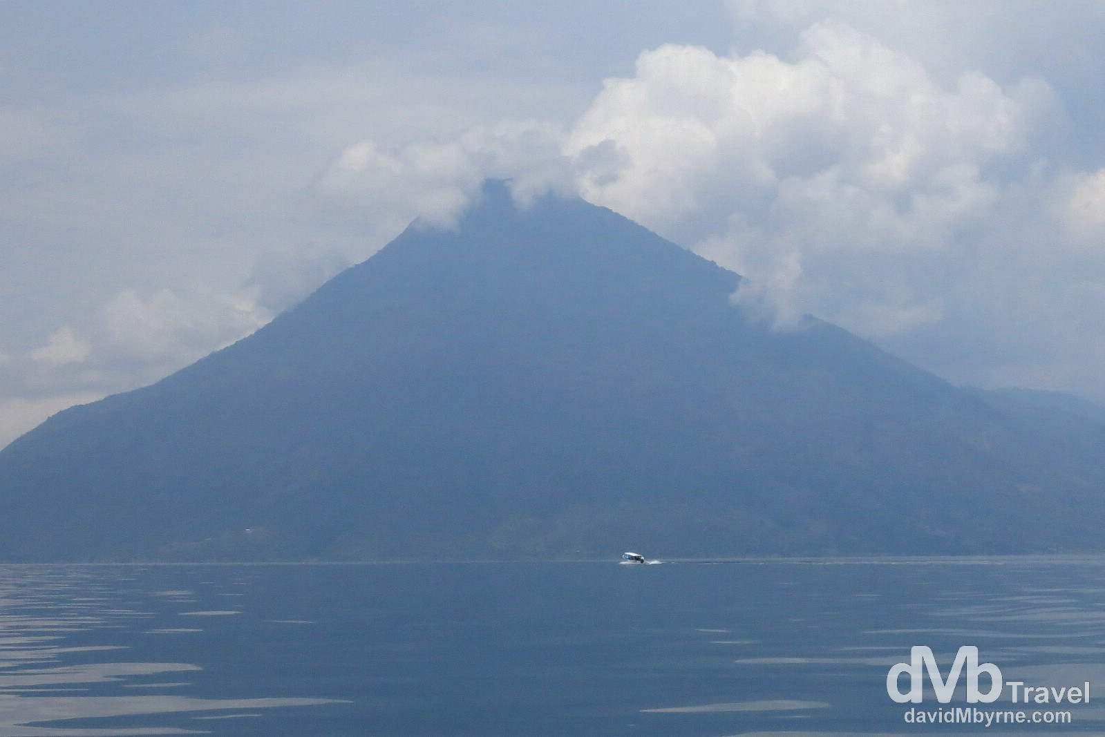 Boating near the base of the San Pedro Volcano on Lake Atitlan, Guatemala. May 24th 2013.