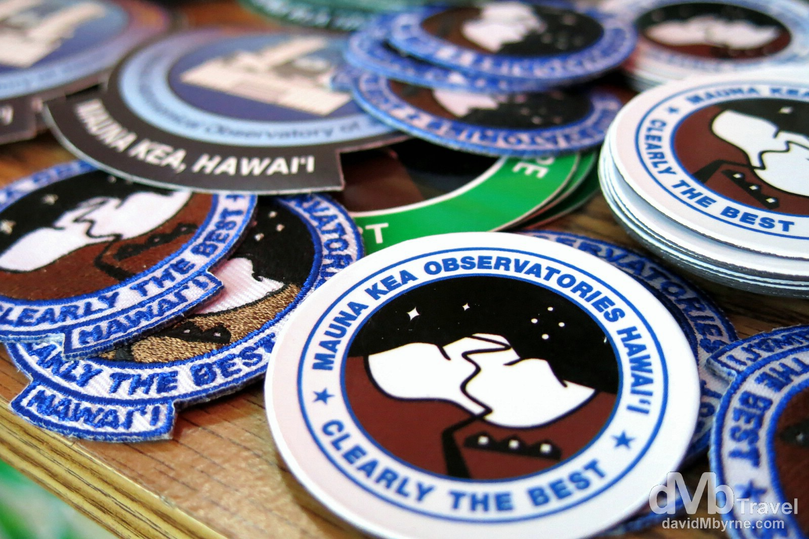 Badges for sale in the Mauna Kea Observatories Visitors Centre, the Big Island of Hawaii, USA. March 3rd 2013.