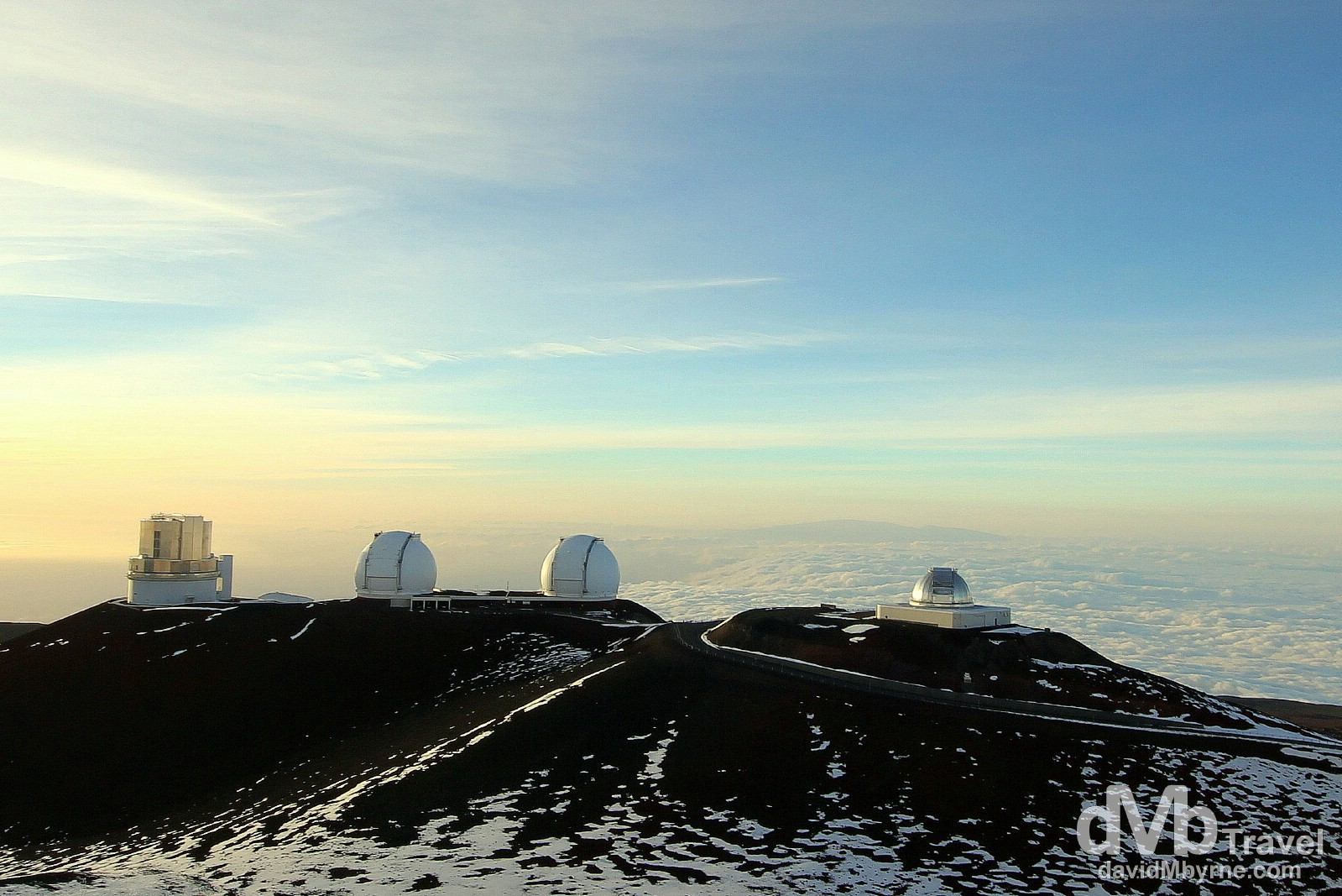 Observatories above the clouds atop Mauna Kea, the highest point in the Pacific, the Big Island of Hawaii, USA. March 3rd 2013.