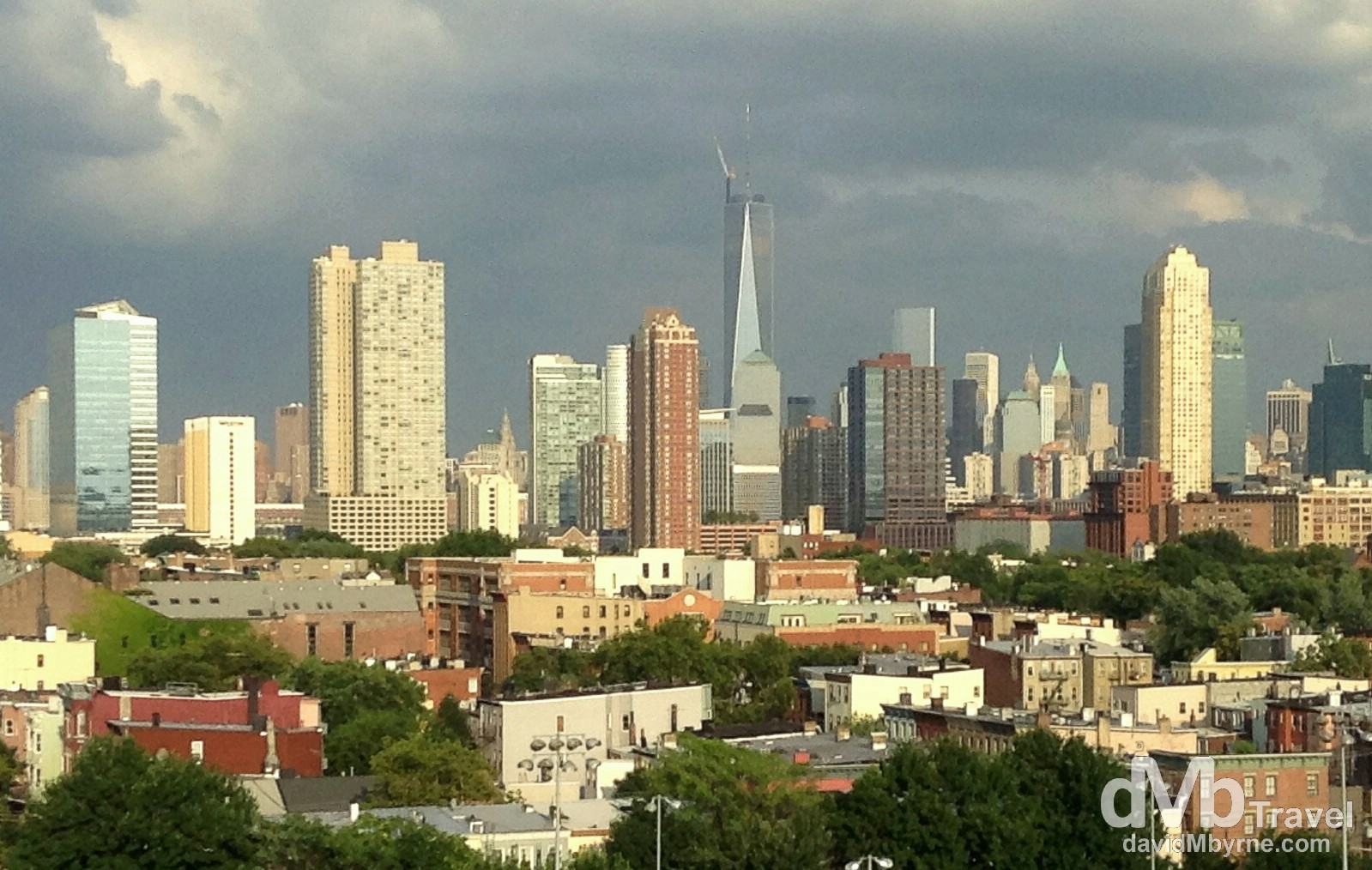 An iPod shot of the Manhattan skyline from New Jersey. Taken from the approaching the city. July 11th 2013. (iPod)