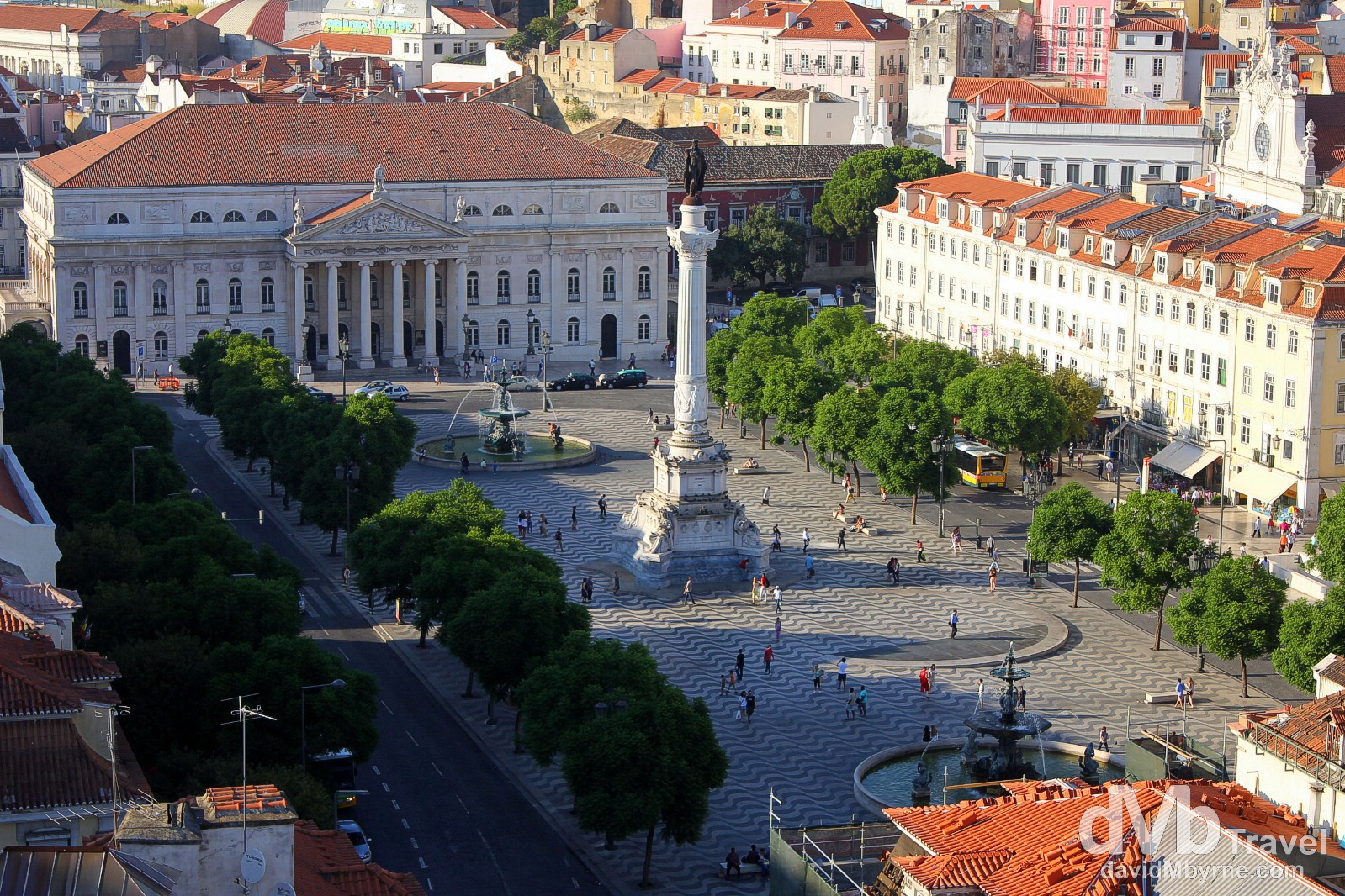 Praça de D. Pedro IV (Rossio Square) as seen from atop the Santa Justa Lift, Lisbon, Portugal. August 26th 2013.