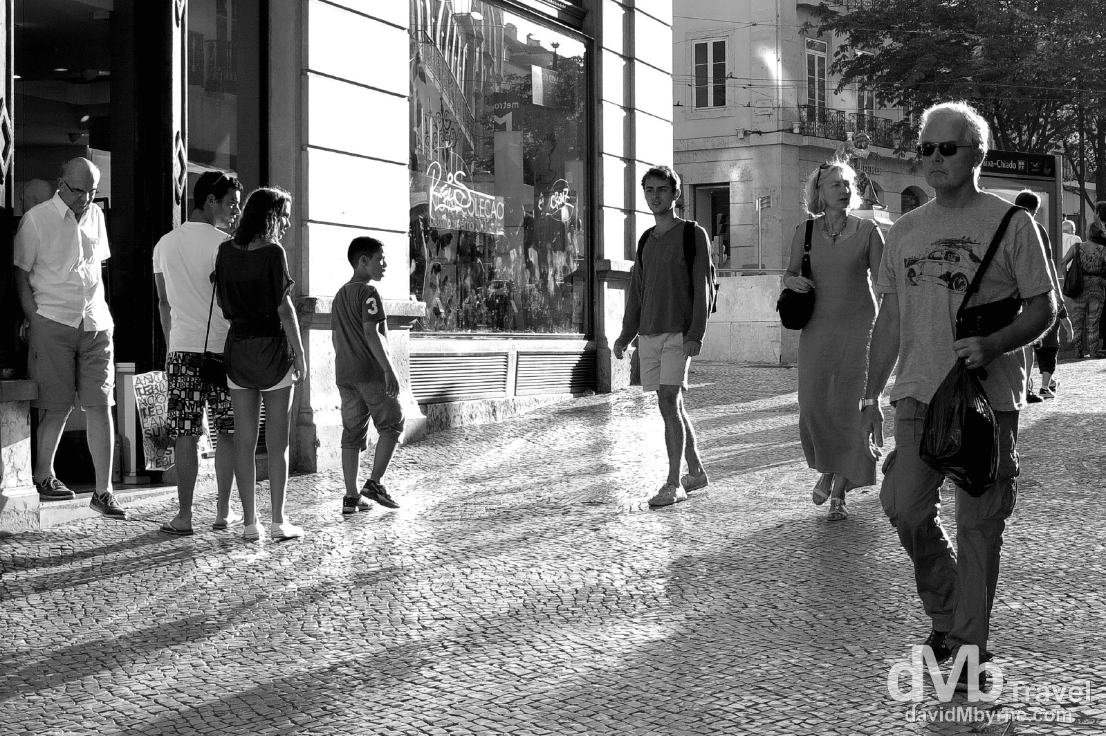 Sunset shadows on Rua Garrett leading to Largo do Chiada, Lisbon, Portugal. August 26th 2013.