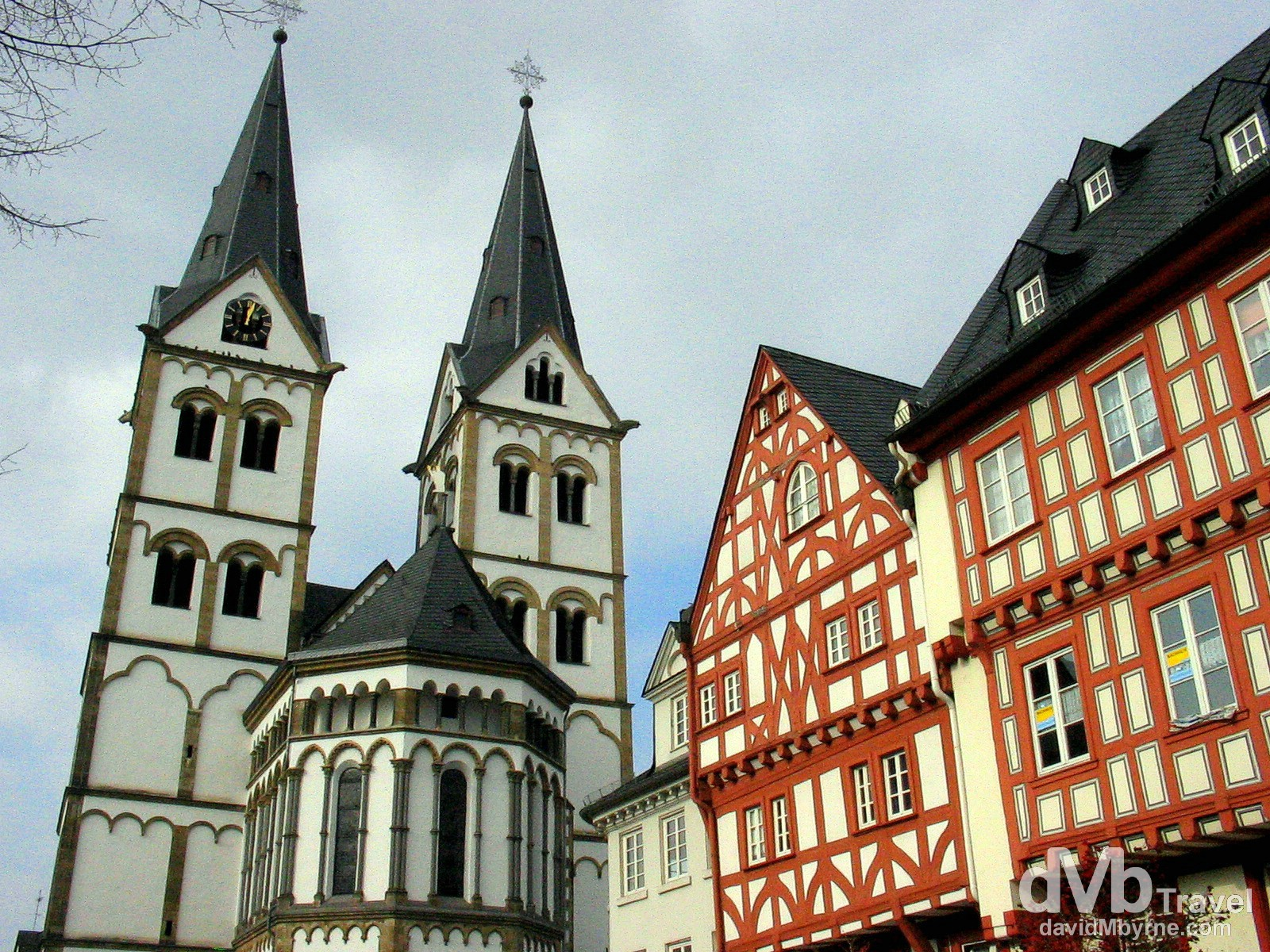 The twin towers of Saint Severus Church in Marktplatz, Boppard, Rhineland, in western Germany. February 18th 2005.