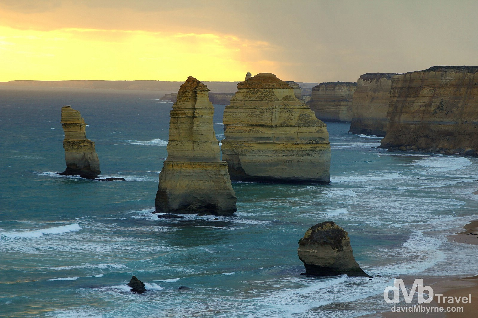 Sunset at the Twelve Apostles of Port Campbell National Park, the Great Ocean Road, Victoria, Australia. April 22nd 2012.
