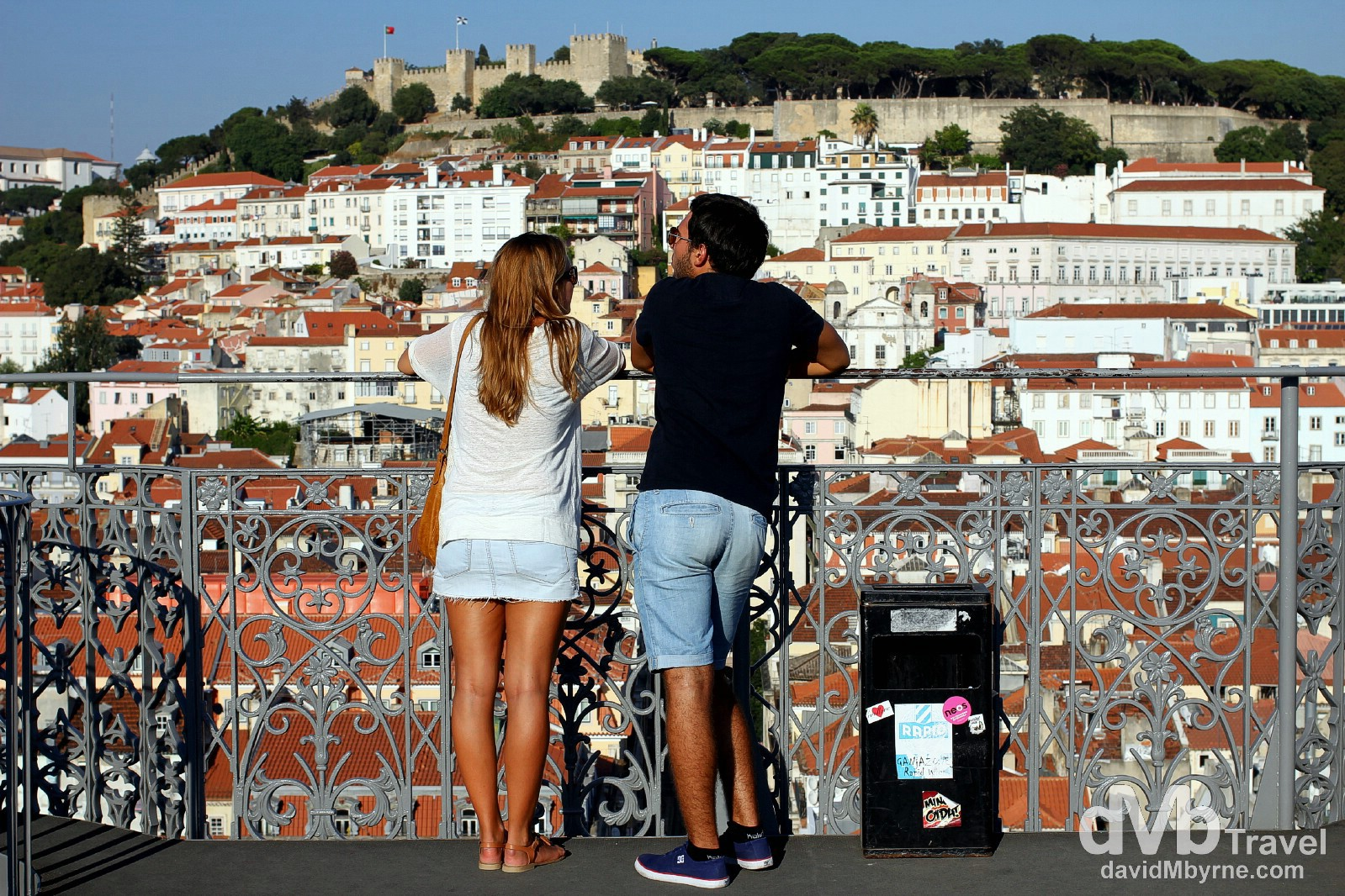 Peering across to the Alfama district of Lisbon from atop the Santa Justa Lift, Lisbon, Portugal. August 26th 2013.