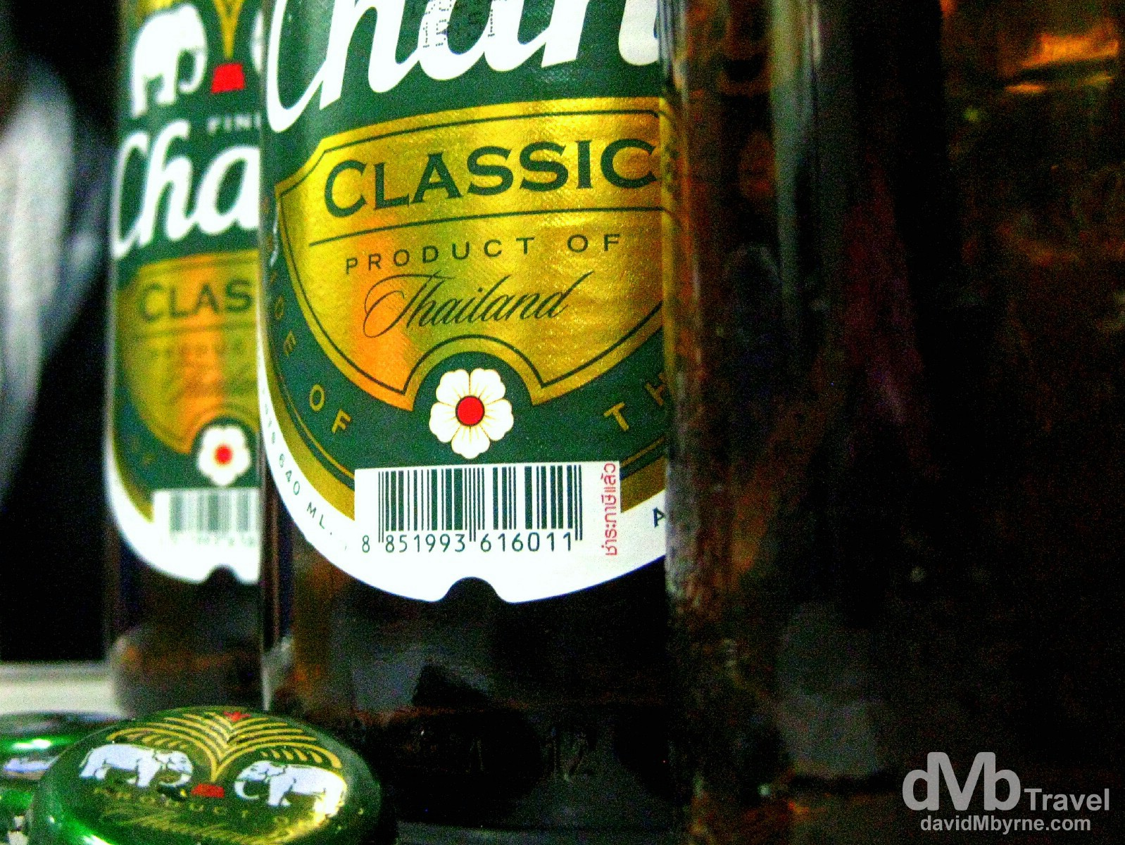Chang beer, a pale lager & the flagship brand of ThaiBev, Thailand's largest and one of Southeast Asia's largest beverage companies, is the most popular beer in Thailand. Chang (Thai: ????) is the Thai word for elephant, an animal with cultural and historical significance in the country, & the beer's logo features two elephants facing each other. It's a strong brew, at least when drinking from the 660ml bottles found in Thailand; it's brewed to 'only' 5% abv for export whereas the local brew is a quick & dangerous 6.4%. I took this (grainy) picture with my point-&-shoot on the train en route from Bangkok north to Chiang Mai. There was more than one bottle consumed and thus the 16-hour overnight journey seemed to fly by.