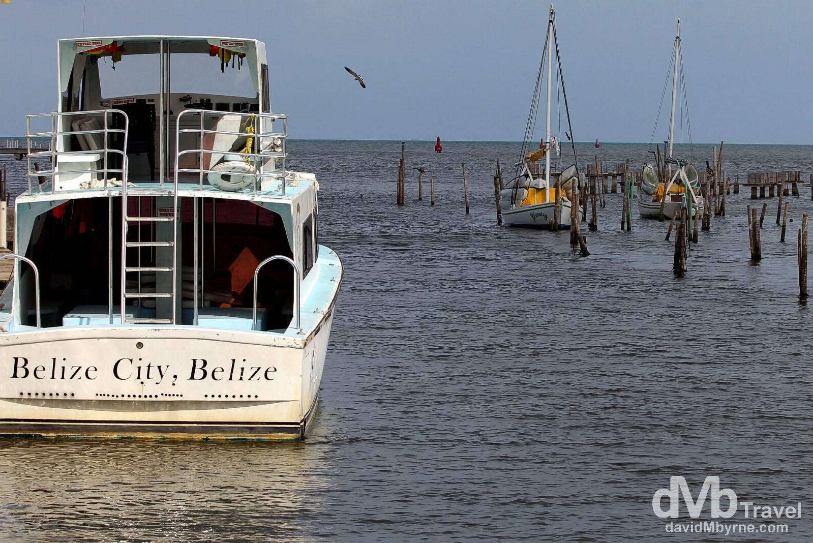 Boats in Haulover Creek, Belize City, Belize. May 12th 2013.