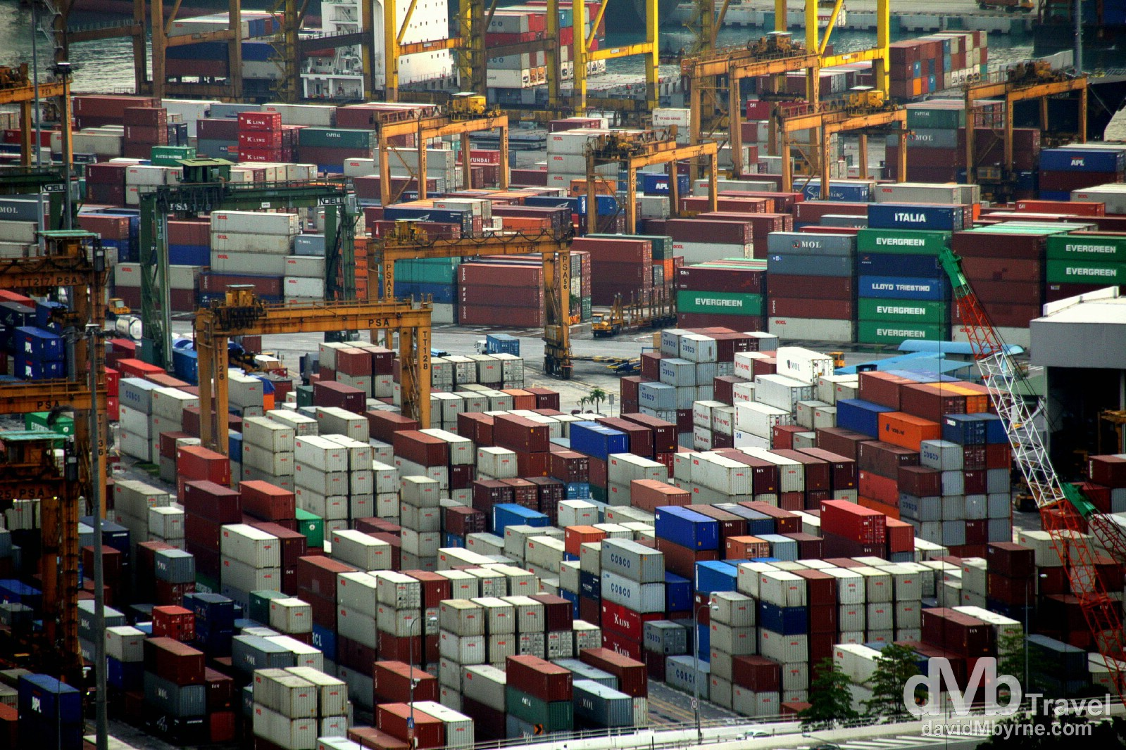 Singapore ranks either first, second or third on the list of biggest/busiest container ports in the world depending on which list you read (Shanghai & Hong Kong will be up there, too). The port is responsible for a lot of the country's wealth. This is the view of a section of the port looking right from the balcony of an apartment in the CBD. Oh, and construction is still booming here; 24-hour-a-day projects are busying away at the next vertigo-inducing skyscraper wherever way you look in Singapore and especially down here by the water (on reclaimed land of course). Singapore. March 28th 2012.