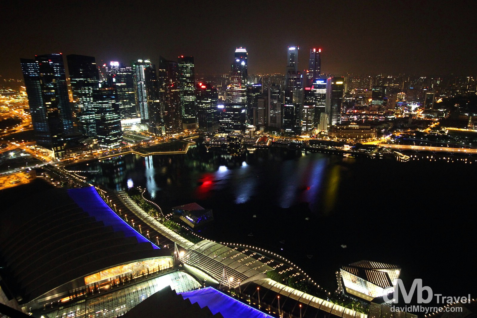 Marina Bay & the Singapore CBD skyline from the SkyPark bar Club KU DÉ TA of the Marina Bay Sands Hotel. Singapore. March 28th 2102.