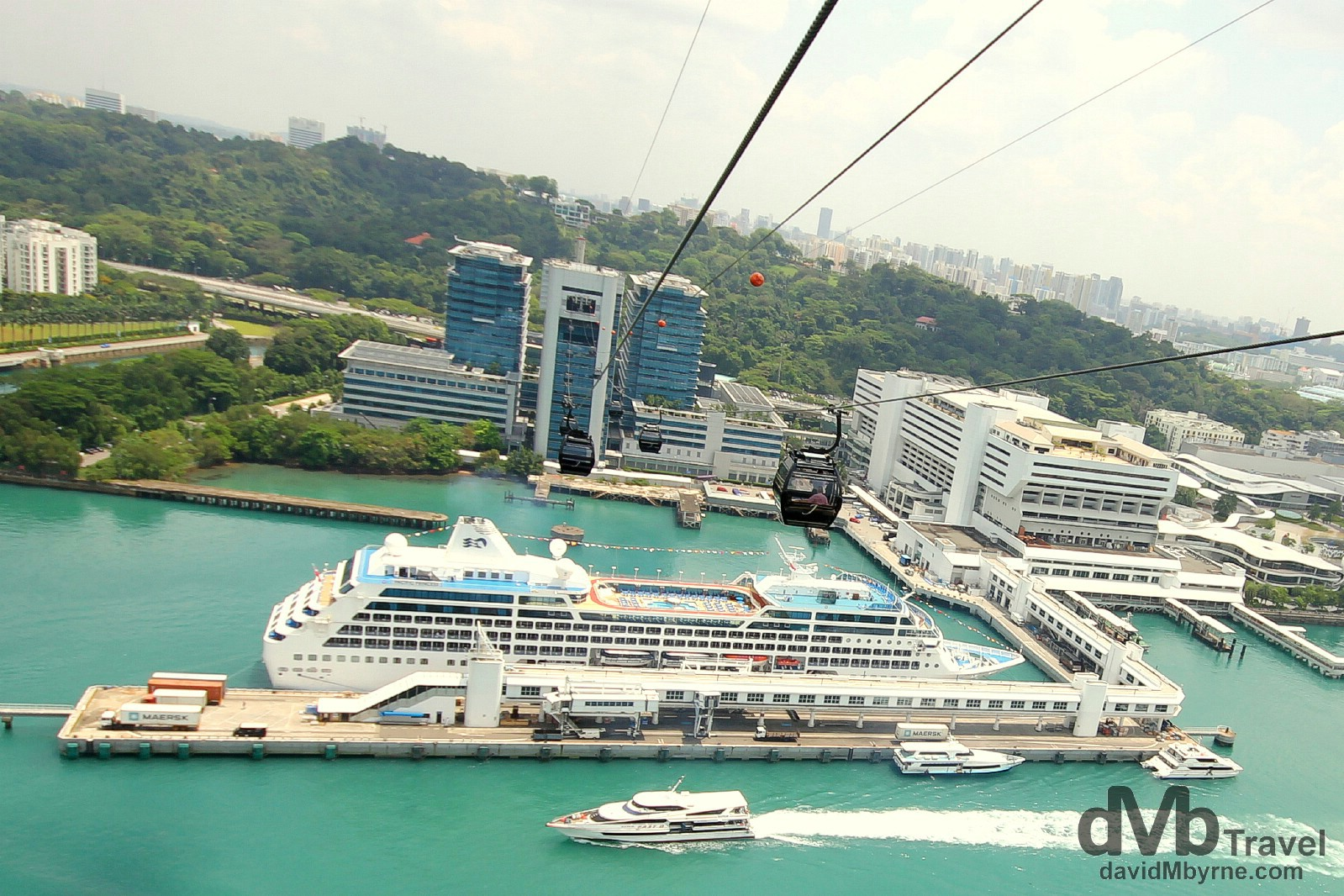 A cruise ship moored in Singapore harbour as seen from the Sentosa Island Cable Car. March 29th 2012.