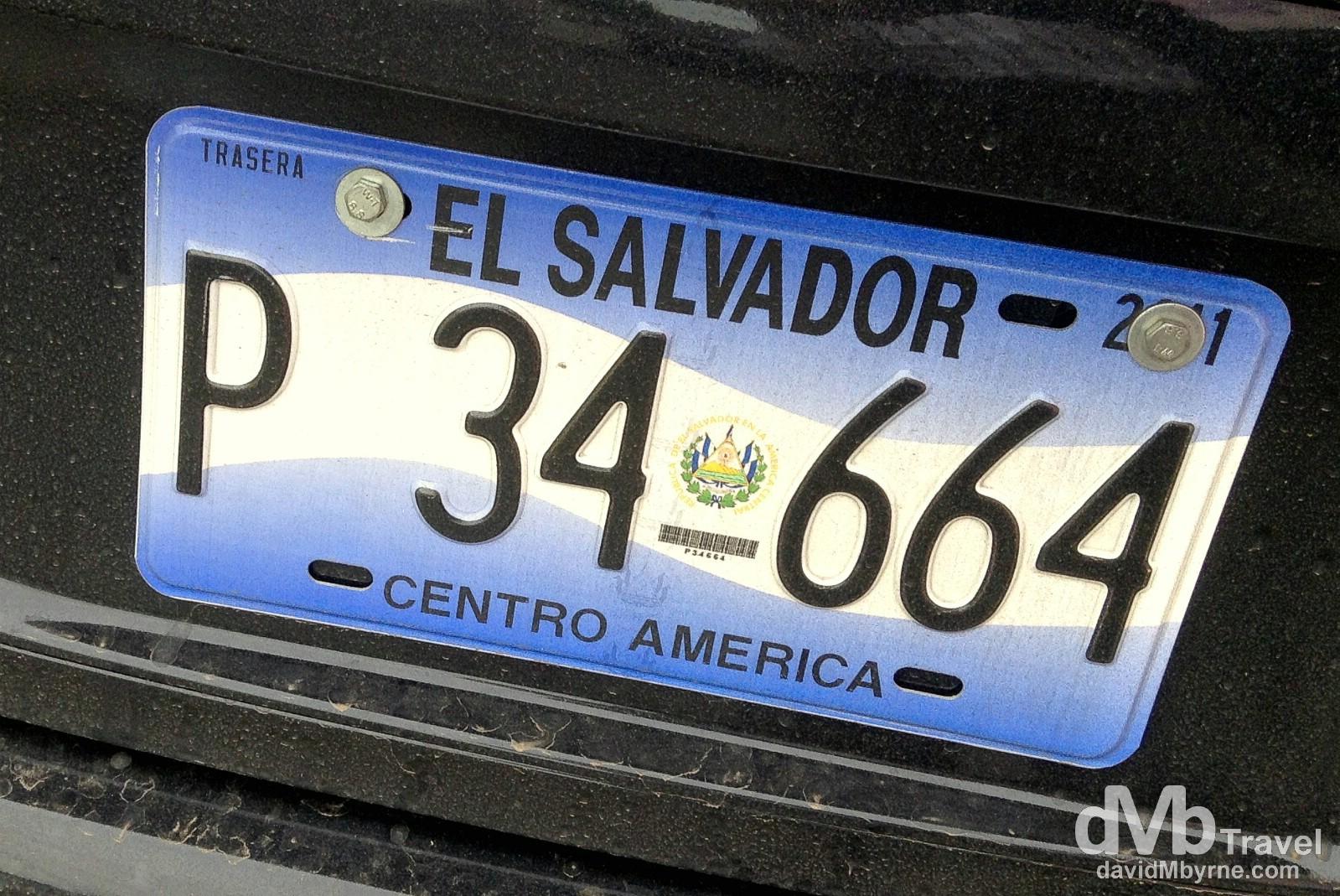 Licence plate. Santa Ana, Western El Salvador. May 27th 2013.