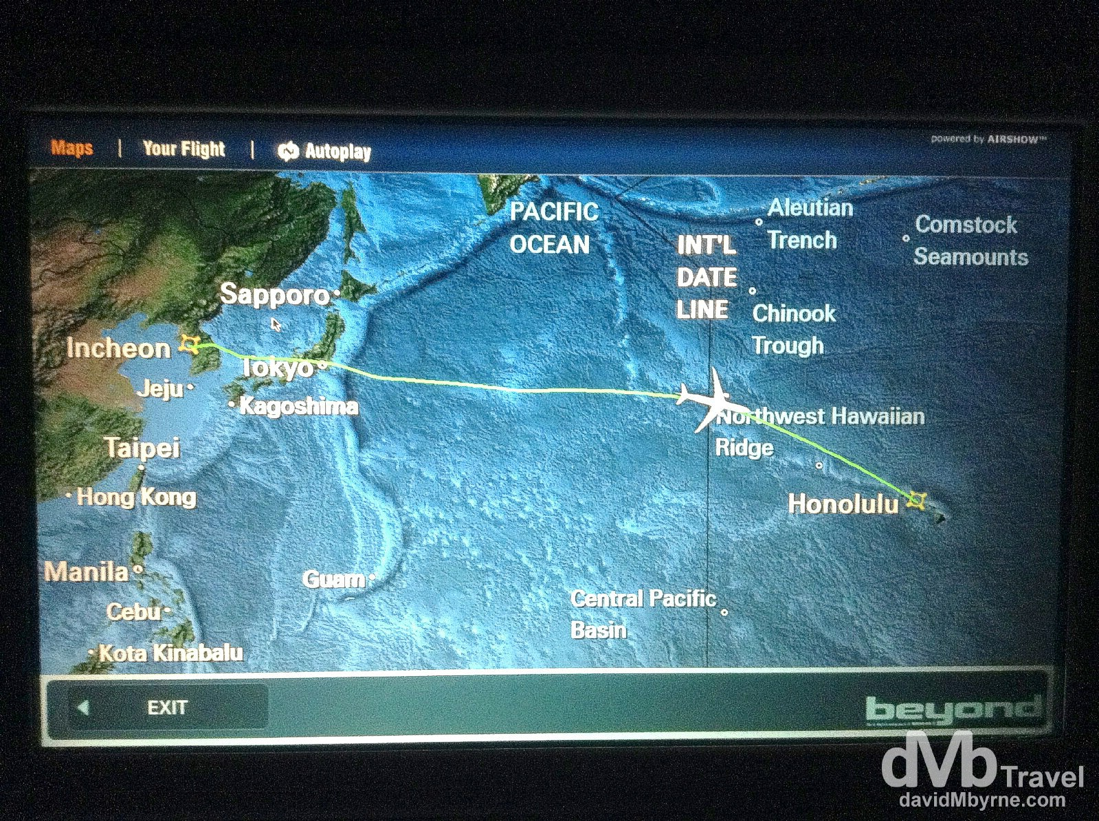 Crossing the International Date Line en route from Korea to Hawaii. Two February the 26ths for the price of one. February 26th 2013. (iPod)