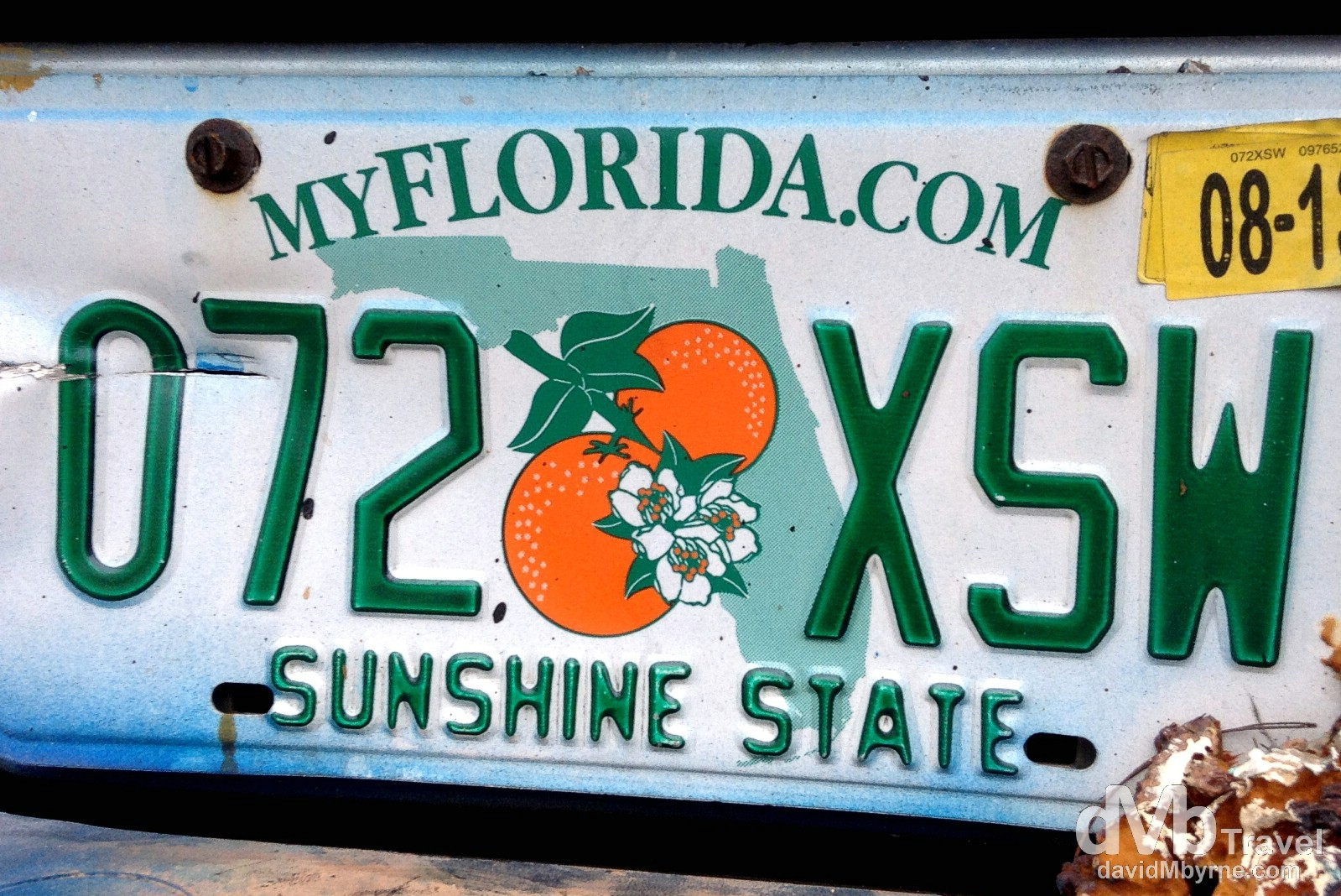 A licence plate on the streets of Key West, Florida, USA. July 3rd 2013. (iPod)