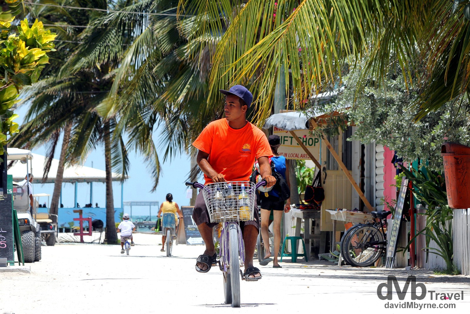 Front Street, one of the 3 sand-covered 'main' roads on Caye Caulker, Belize. May 14th 2013.