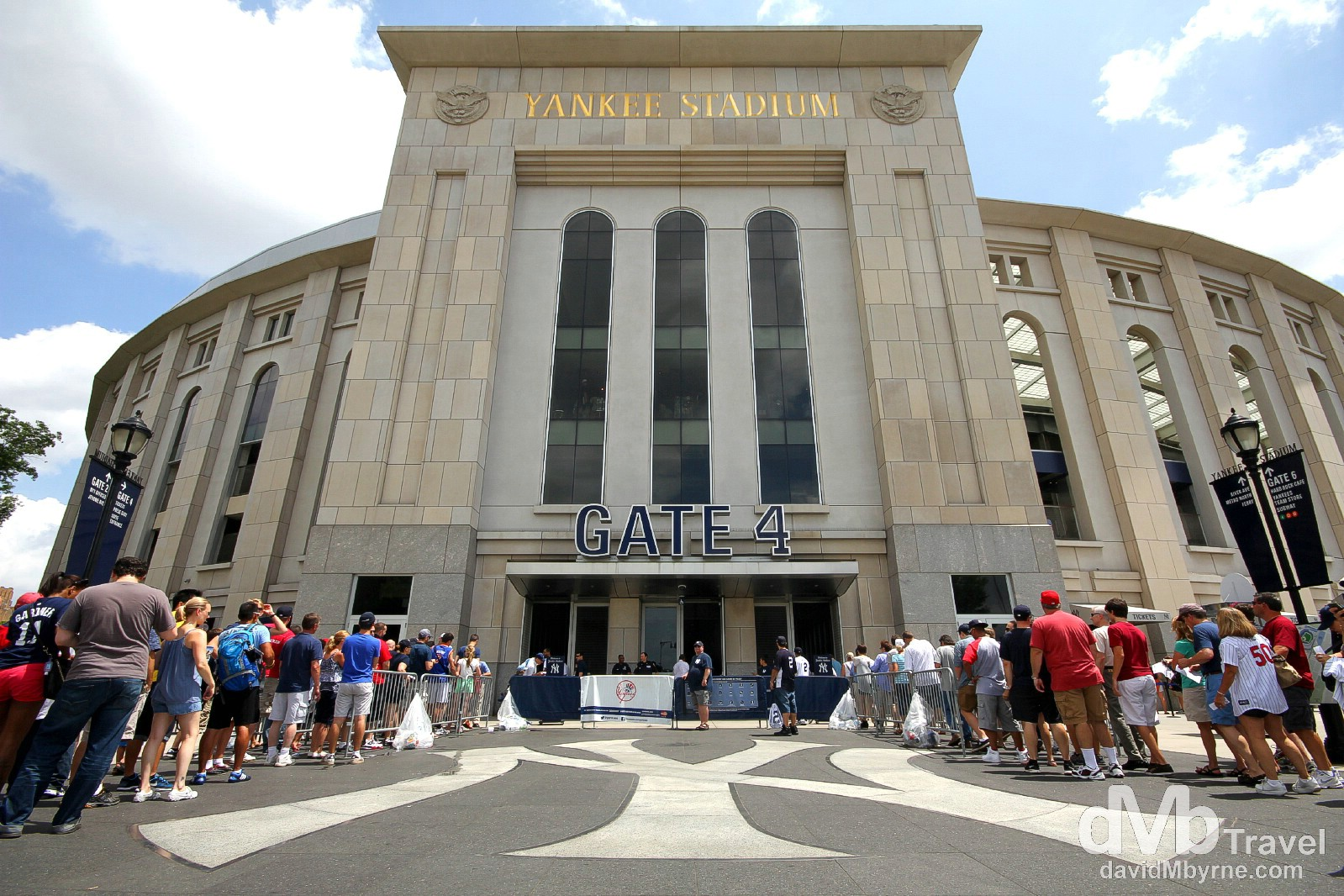 The iconic NY insignia outside Gate 4, Yankee Stadium, The Bronx, New York. July 14th 2013.