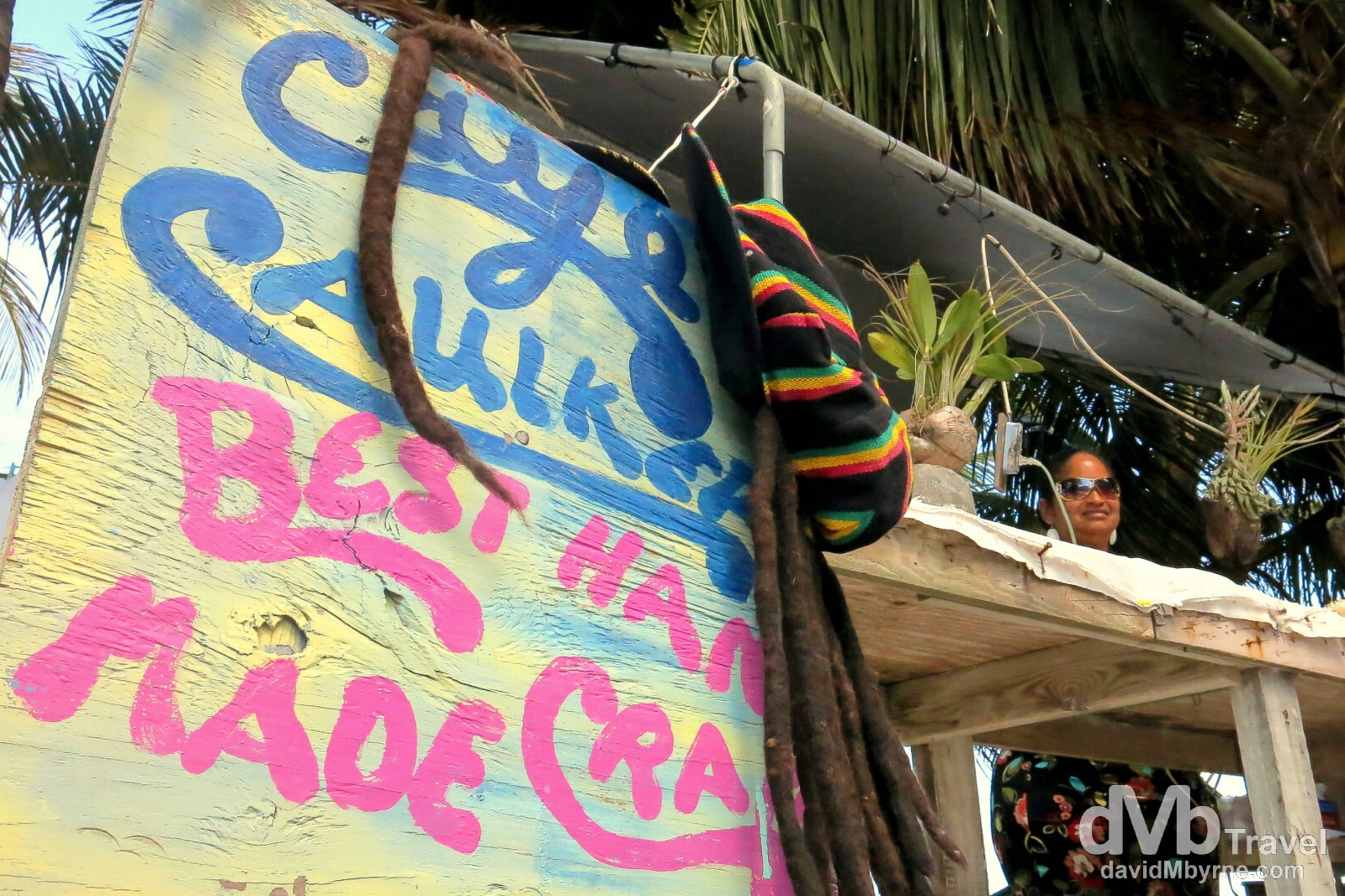 I need not have packed mine. Ready-made Bob Marley hat & dreds. Caye Caulker, Belize. May 13th 2013.