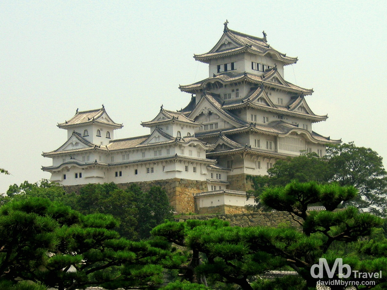 Himeji Castle as seen from the western bailey of the castle complex in the city of Himeji, Honshu, Japan. July 22nd 2005.