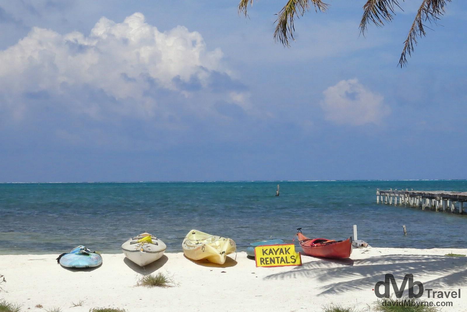 Kayaks, Caye Caulker, Belize. May 13th 2013.