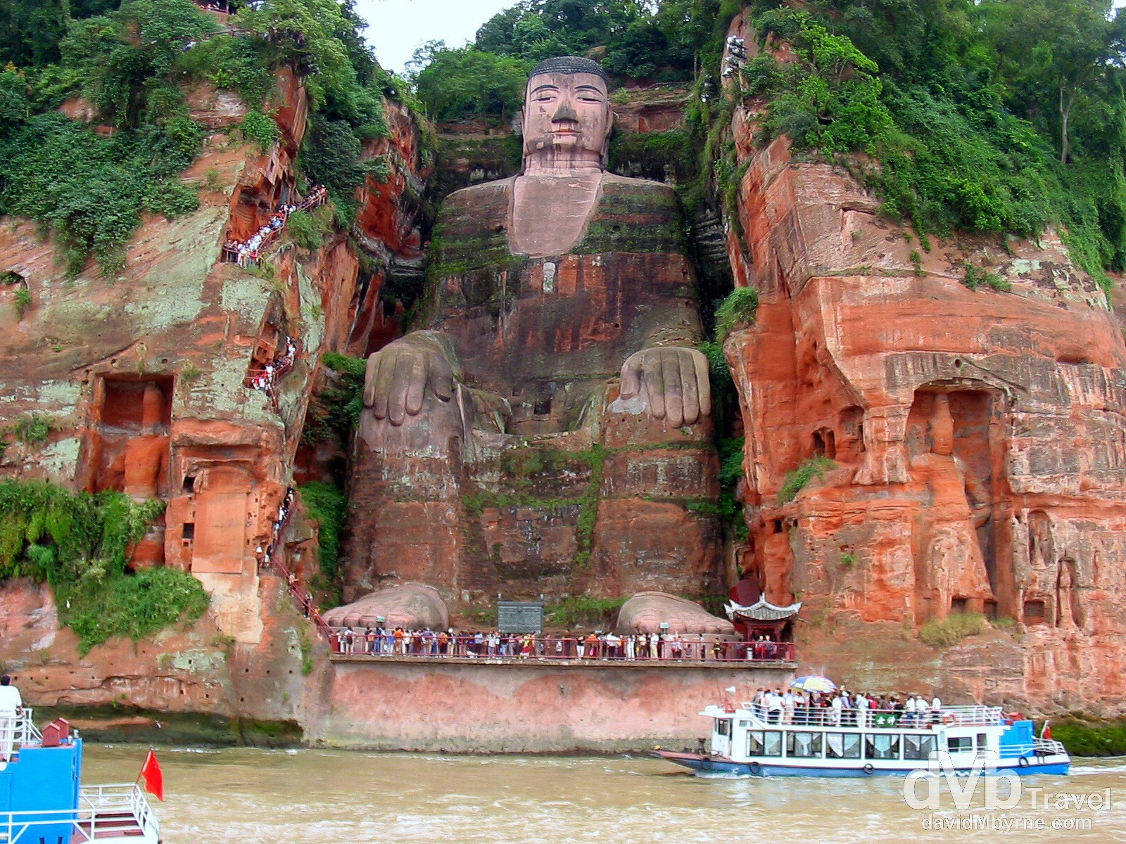 Dafo, The Giant Buddha, as seen from the confluence of the Minjiang, Dadu & Qingyi rivers just outside Leshan in Sichuan Province, China. September 20th, 2004