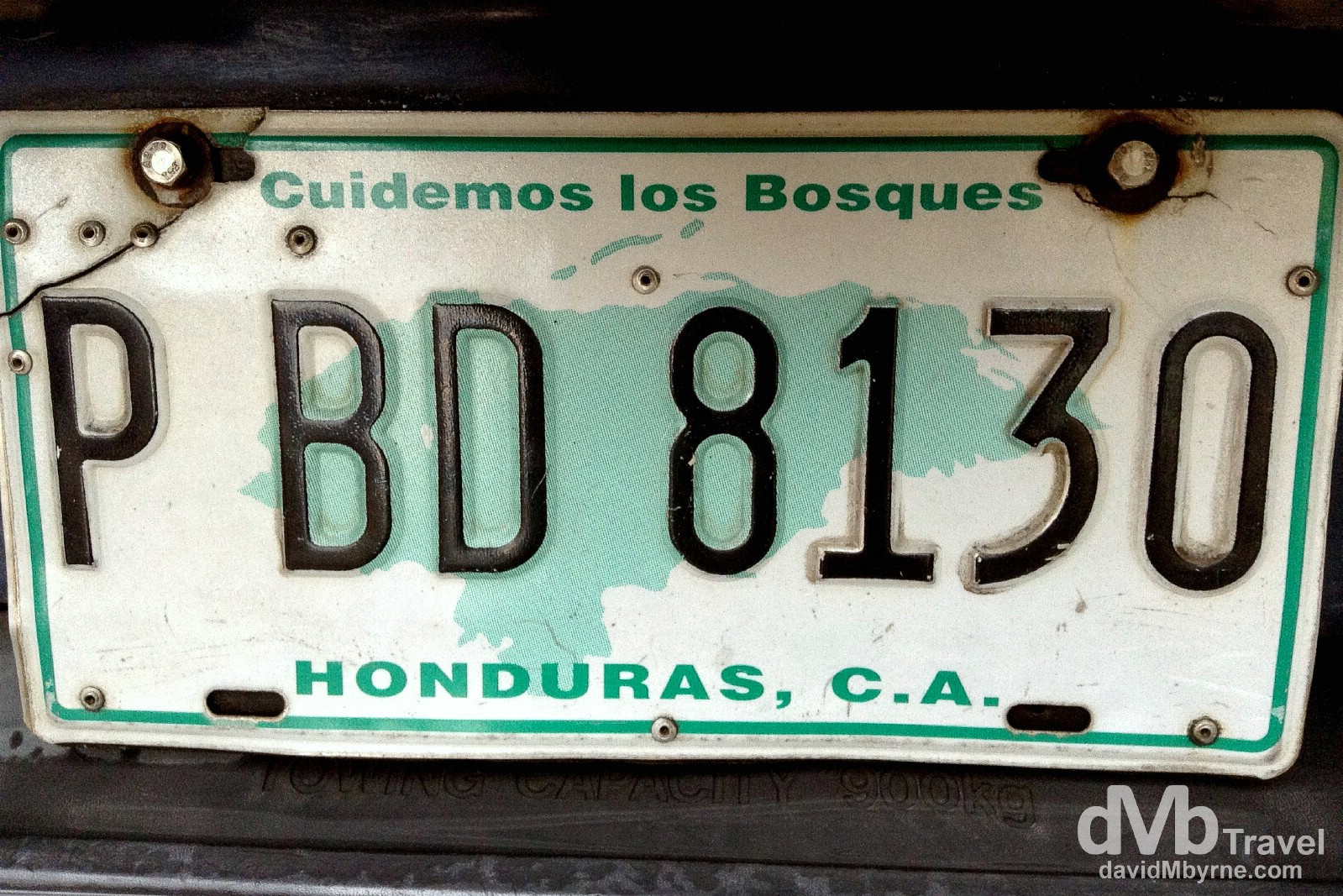 A licence plate on the streets of Copan Ruinas, western Honduras. June 8th 2013. (iPod)