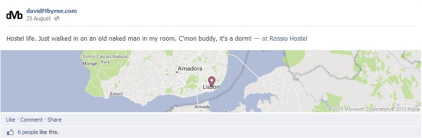 Random facebook Update From: Lisbon, Portugal. Click here to connect with me on facebook.
