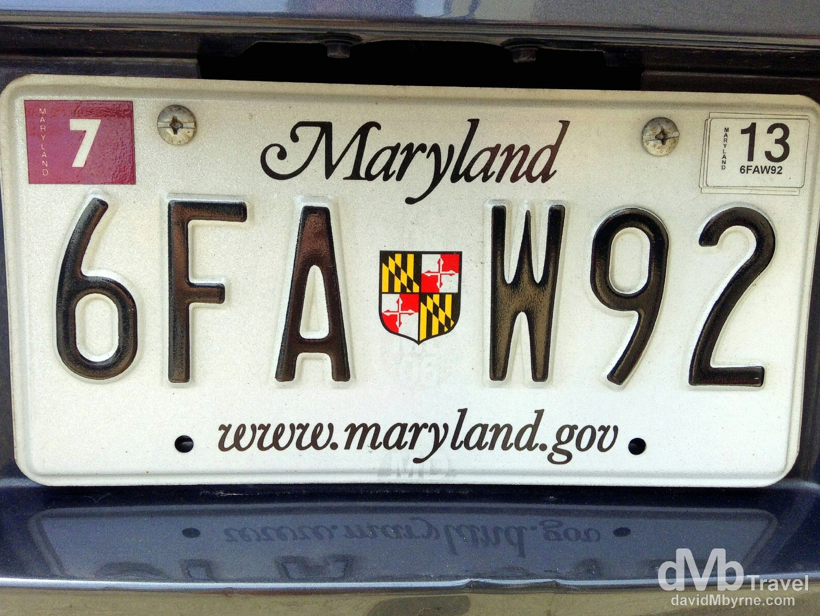 A licence plate on the streets of Baltimore, Maryland, USA. July 9th 2013.