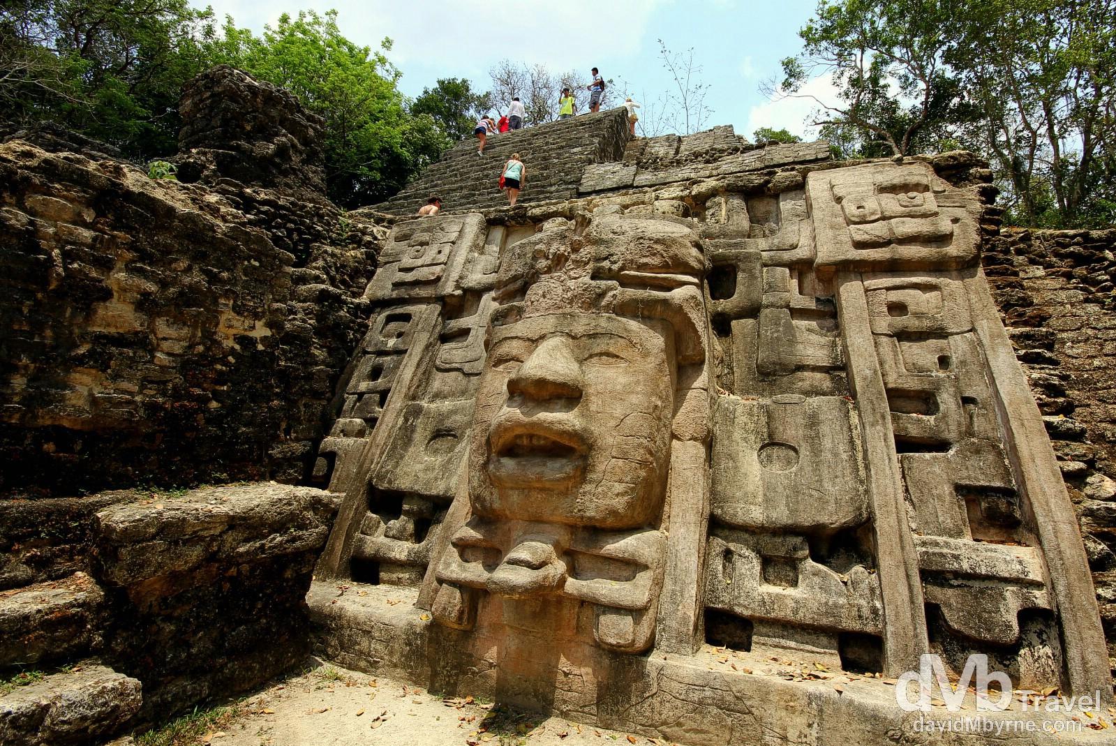 Scaling the aptly named Mask Temple at the Lamanai Mayan ruins, Central Belize. May 11th 2013.