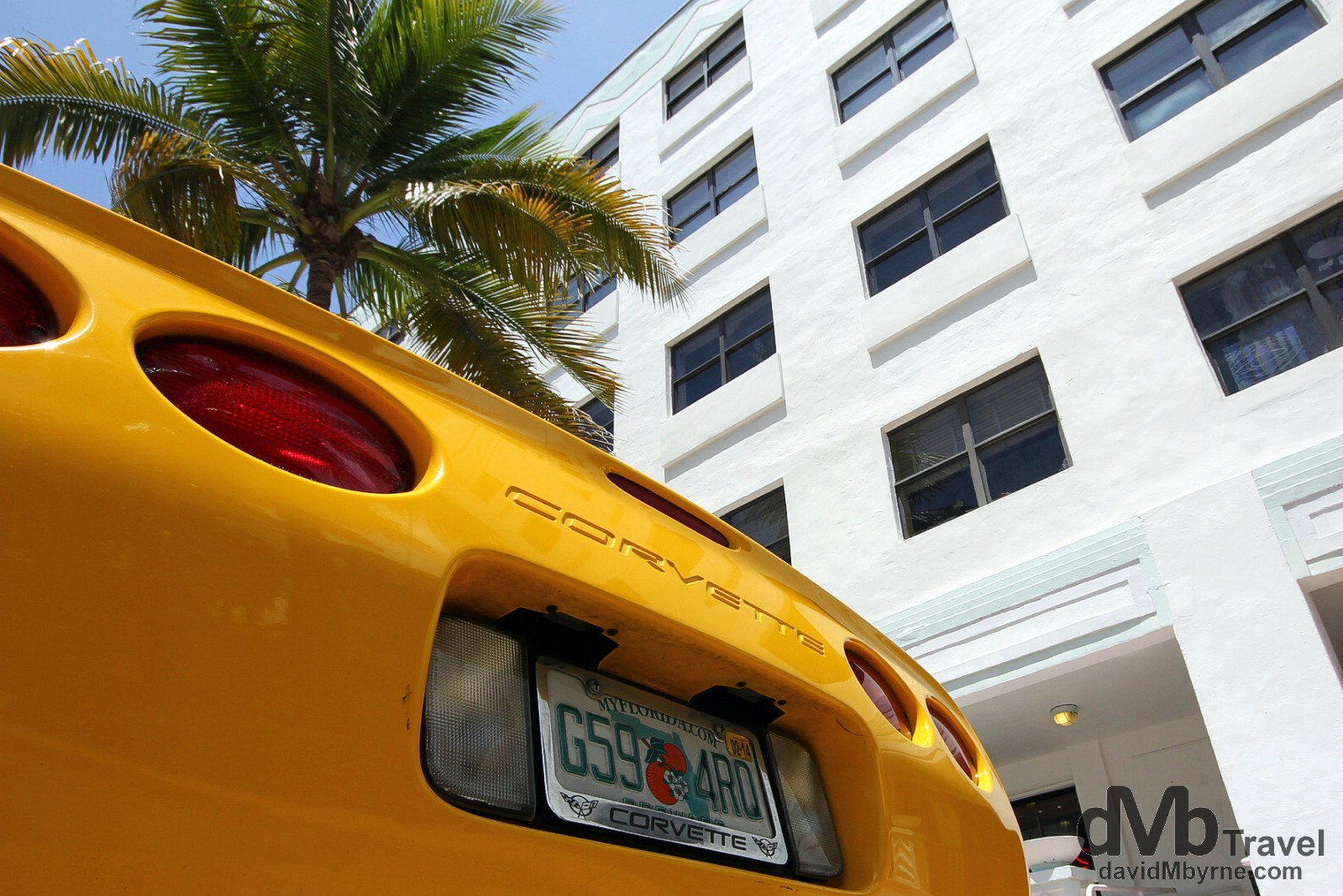 A corvette parked outside the Van Ness Hotel on Ocean Drive, South Beach, Miami, Florida, USA. July 8th 2013.