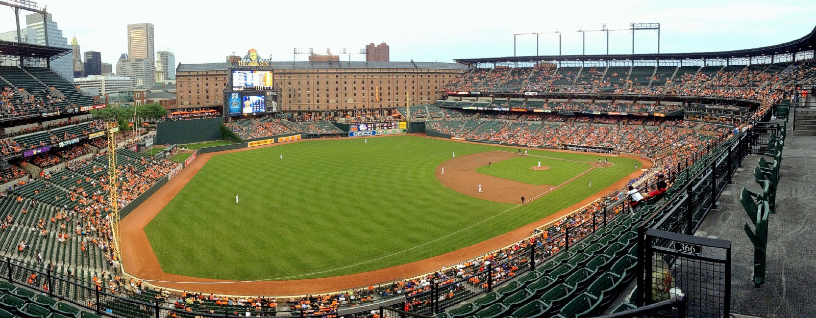 A panorama of Oriole Park at Camden Yards in Baltimore, Maryland, USA. July 9th 2013 (iPod)