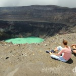 Members of my climbing party overlooking the emerald-green crater lake at the summit of the Santa Ana volcano, El Salvador. May 28th 2013.