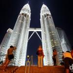 Admiring the Petronas Towers, Kuala Lumpur, Malaysia. March 31st 2012.