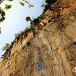 The limestone karst cliffs of Krabi make this a very popular rock climbing destination. Krabi, Thailand. March 18th 2012.