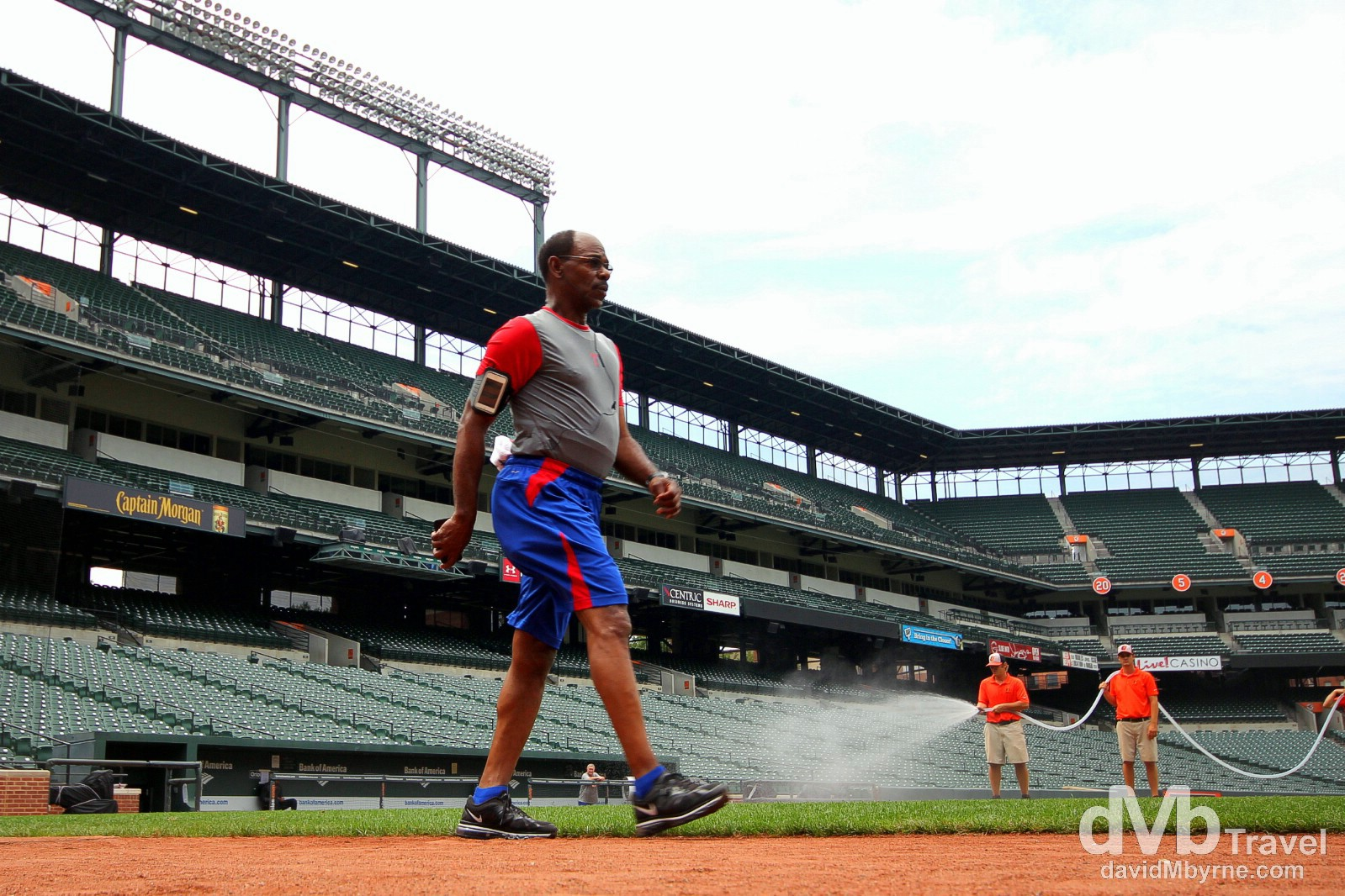 Texas Rangers manager Ron Washington doing laps of Oriole Park at Camden Yards as seen from the Oriole's dugout. Baltimore, Maryland, USA. July 10th 2013.