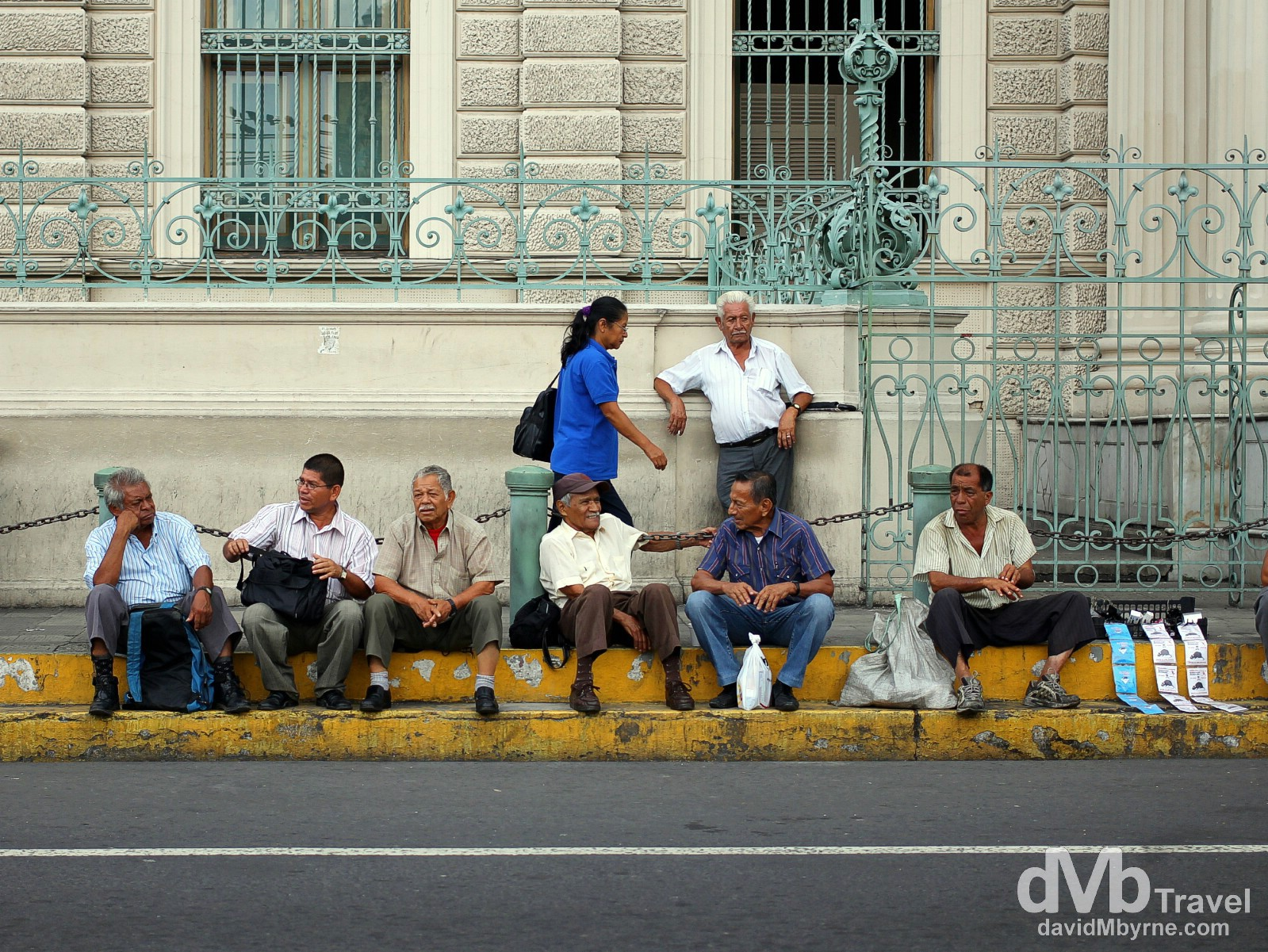 Sitting outside Palacio Nacional, San Salvador, El Salvador, Central America. June 3rd 2013.