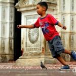 Running amuck outside Santa Ana Cathedral, Santa Ana, Western El Salvador. May 27th 2013.