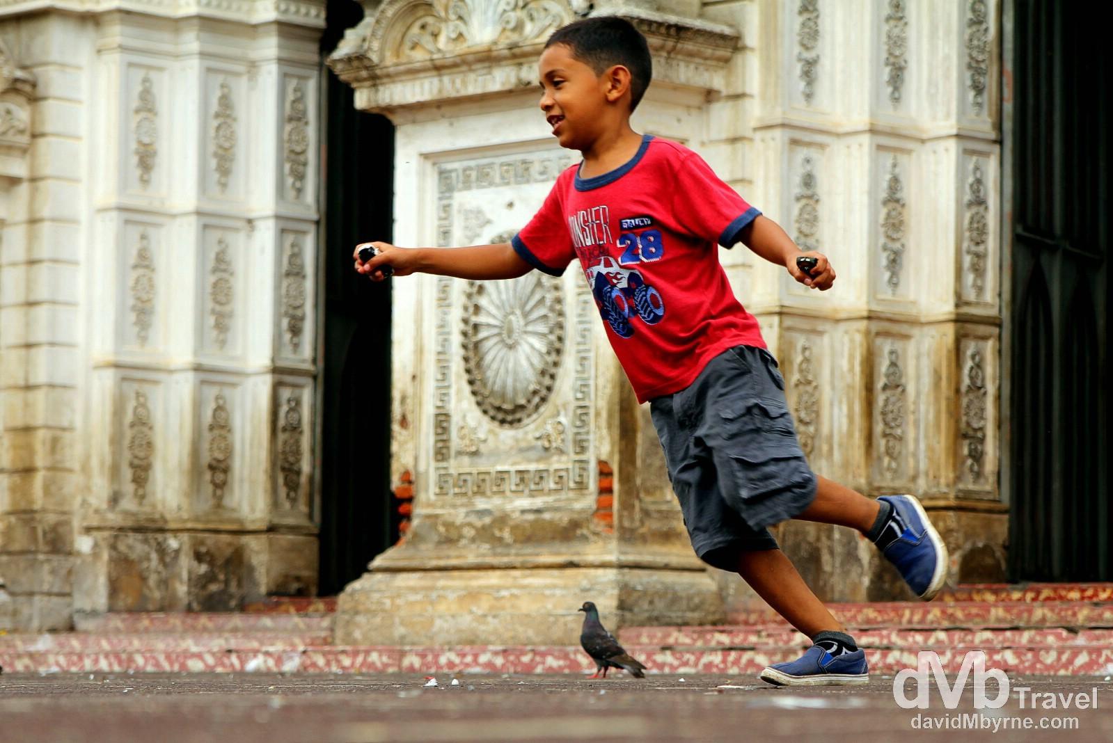 Running a muck outside Santa Ana Cathedral, Santa Ana, Western El Salvador. May 27th 2013.