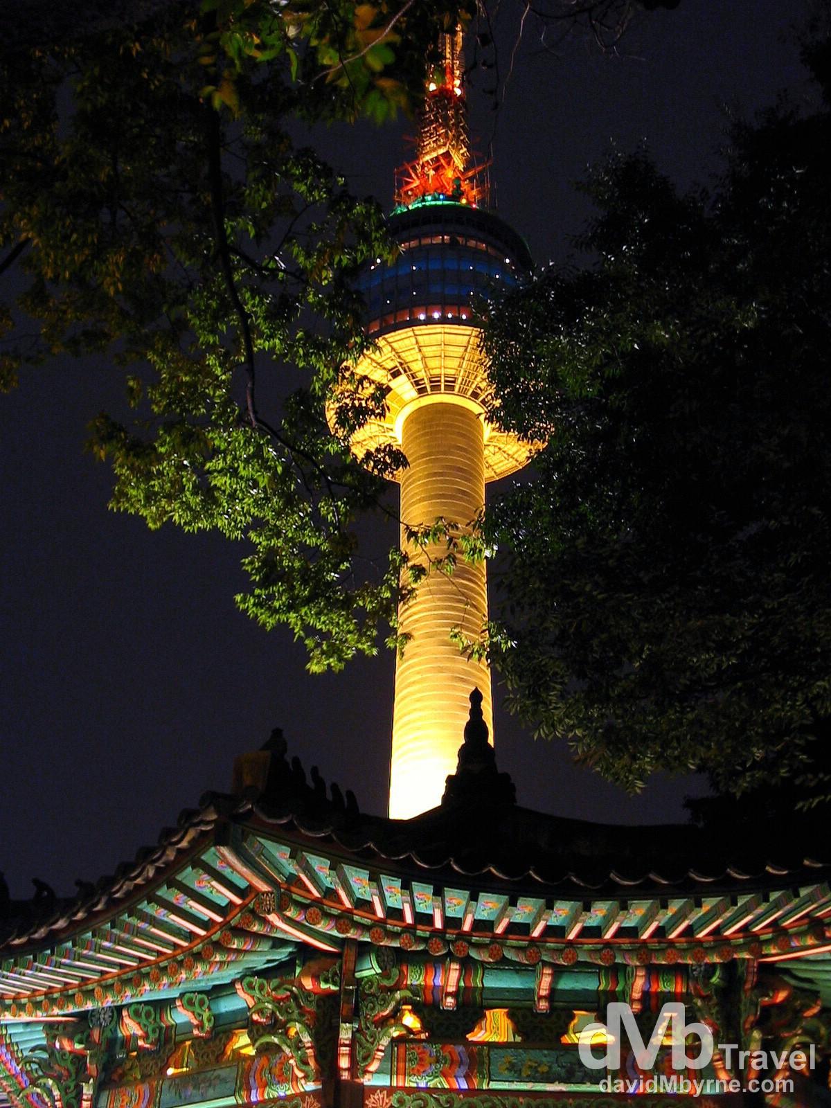 Seoul Tower from Namsan Park on Mount Namsan, Seoul, South Korea. August 14th 2004.