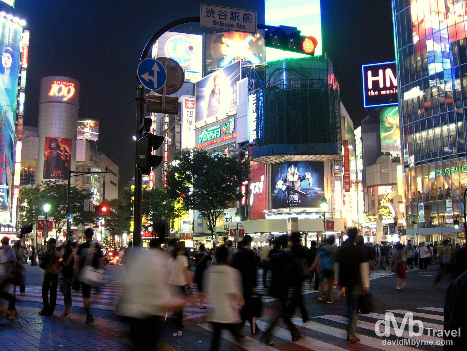 A busy crossroads in the Shibuya shopping and entertainment district, Tokyo, Japan. July 15th 2005.