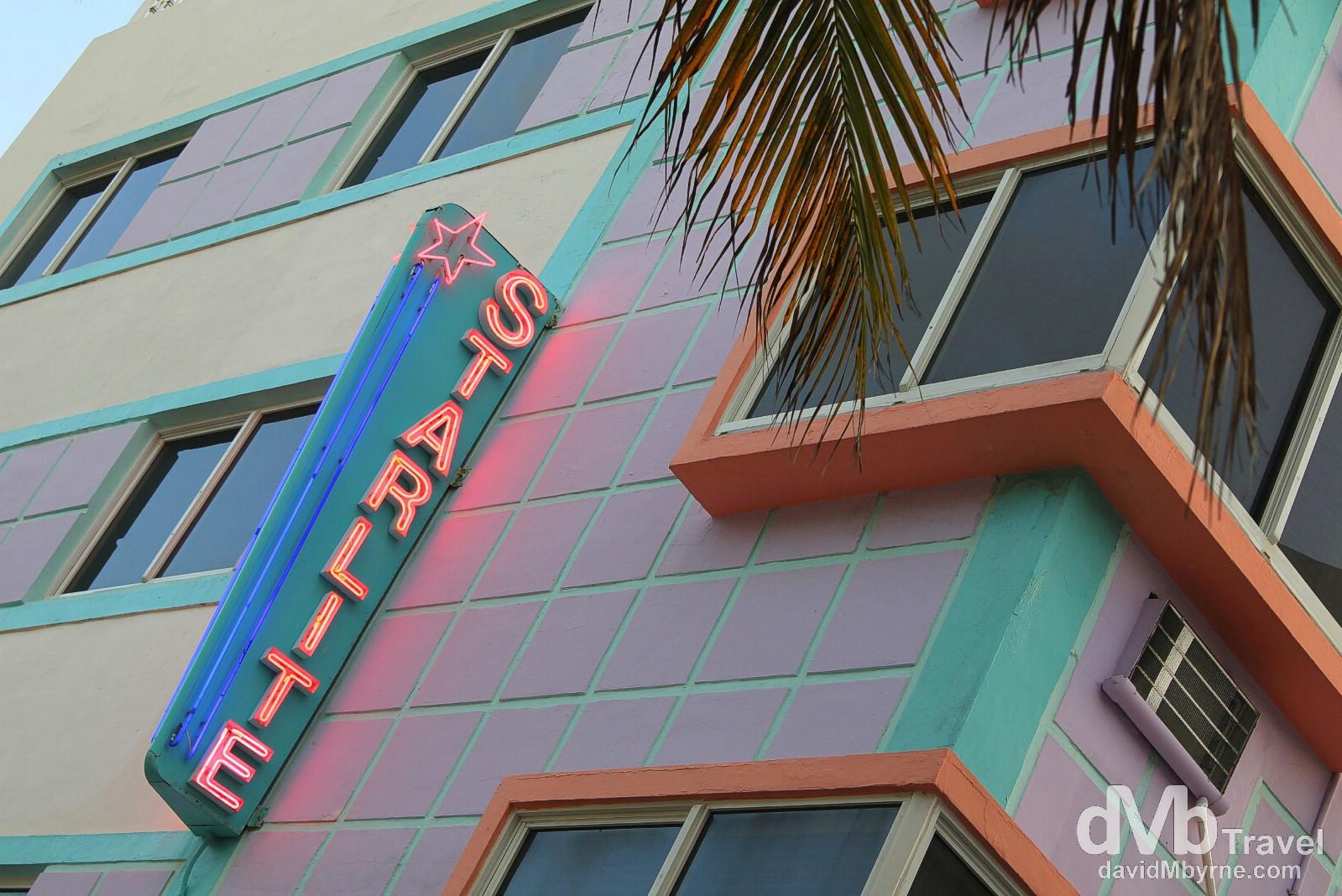 The Starlight Hotel, Ocean Drive, Miami, Florida, USA. July 8th 2013.