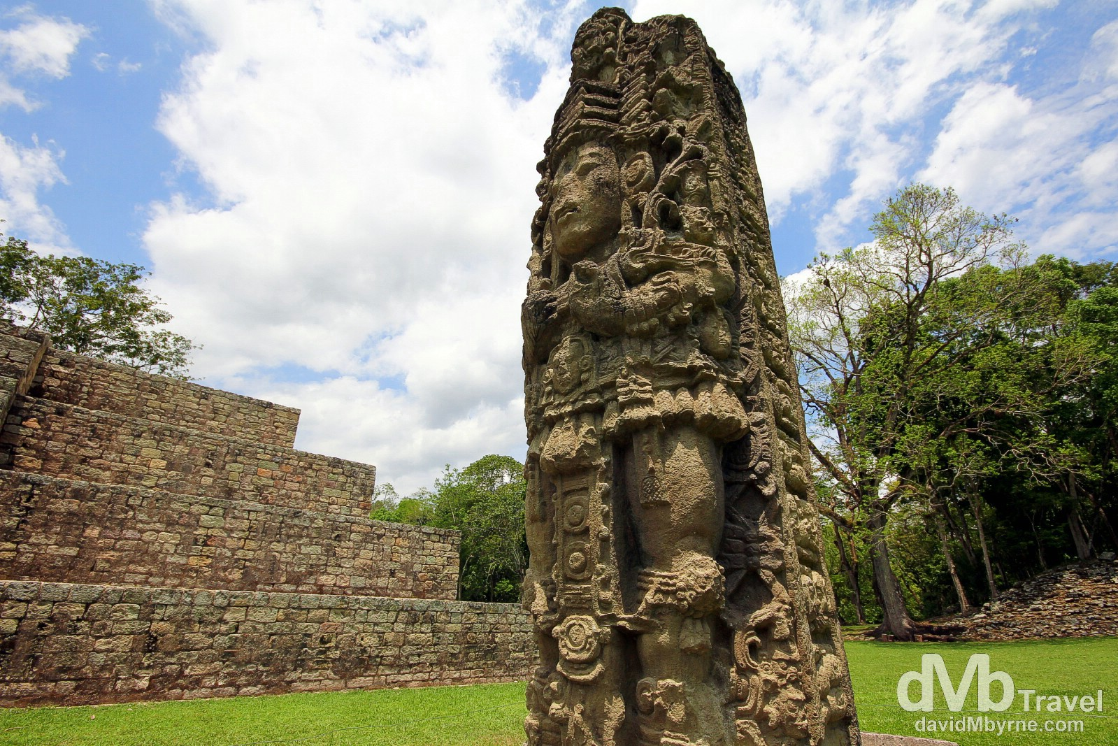 Stelae 3 in the Great Plaza of the Copan Architectural Site, western Honduras. June 7th 2013.