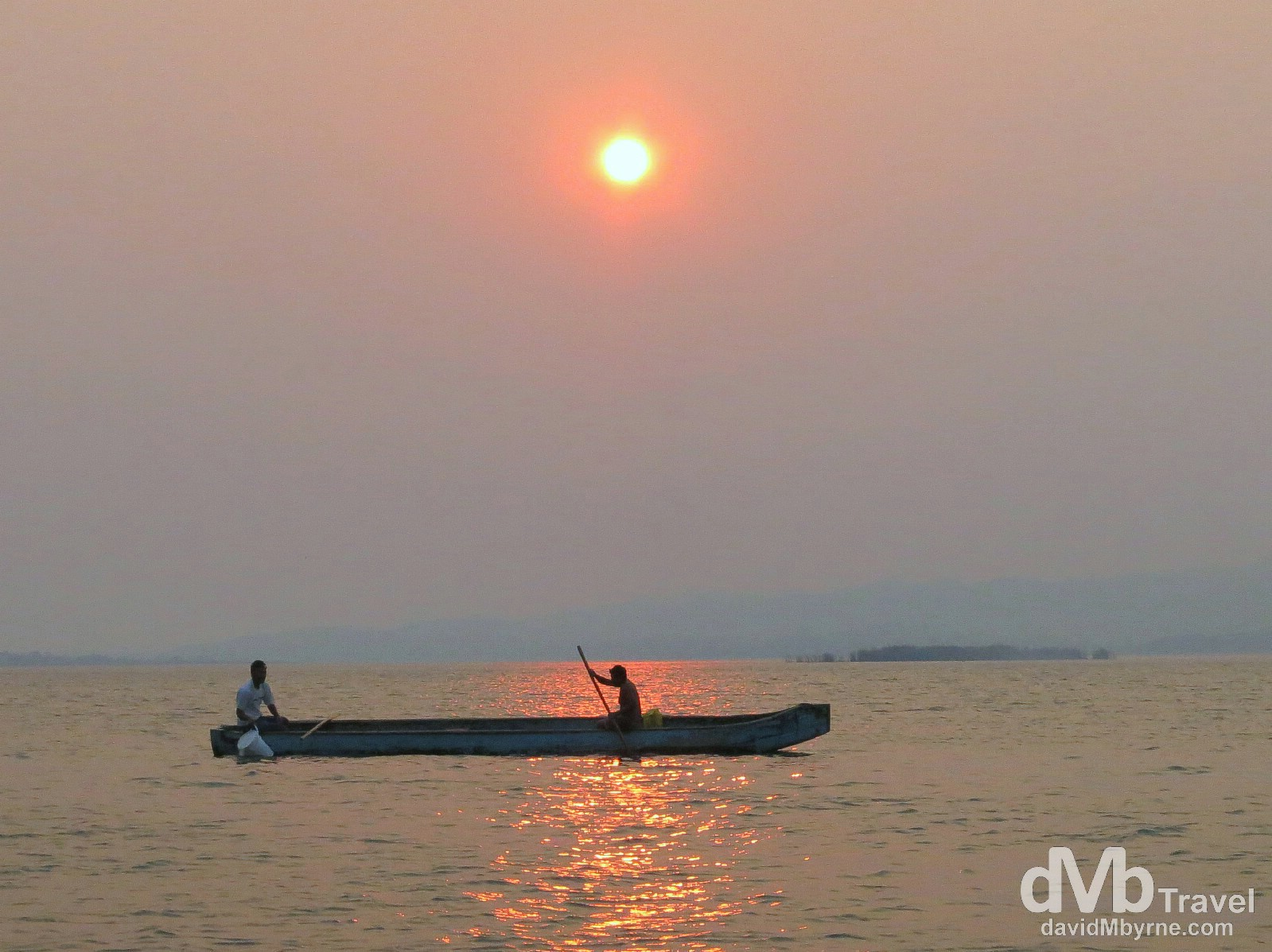 A hazy sunset over Lake Petén Itzá, Flores, Guatemala. May 17th 2013.