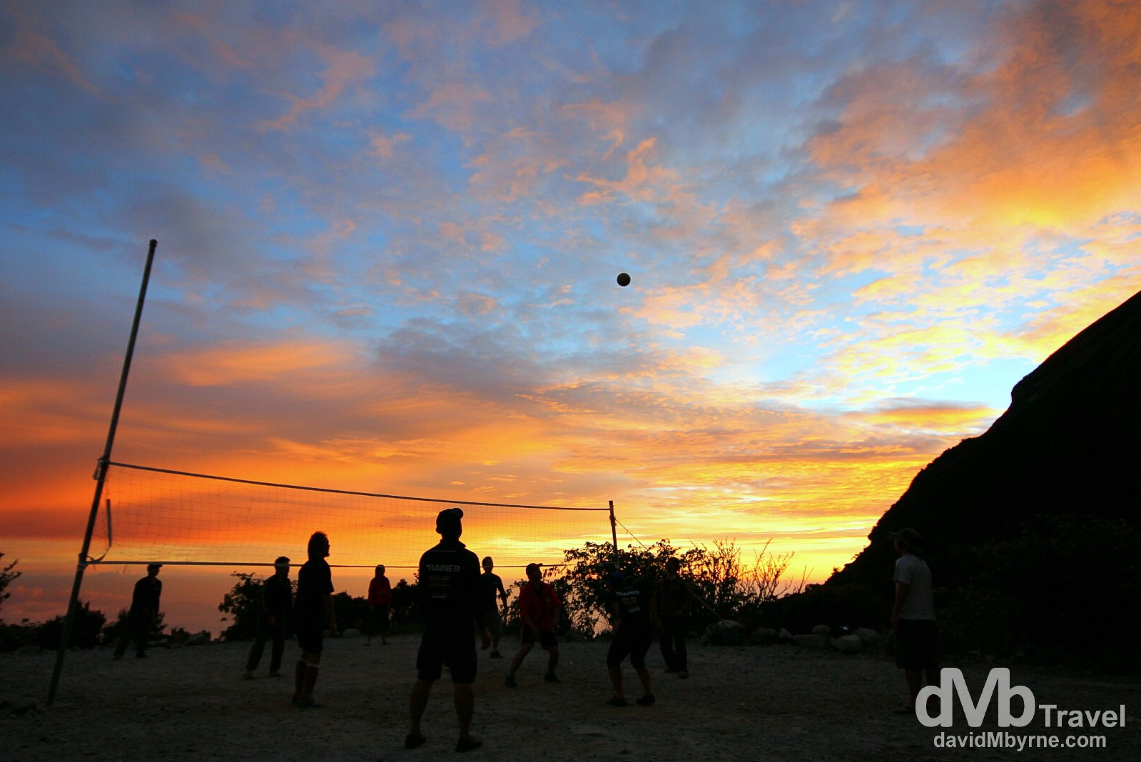 Volleyball at sunset at Laban Rata high on the slopes of Mount Kinabalu, Sabah, Malaysian Borneo. June 22nd 2012.