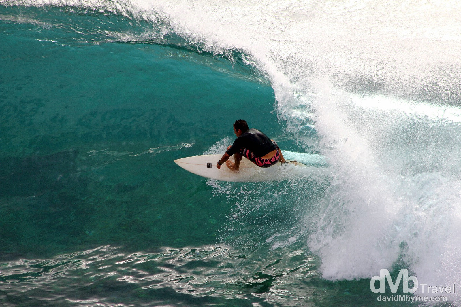 Surfing action in Honolua Bay, Maui, Hawaii, USA. March 4th 2013.